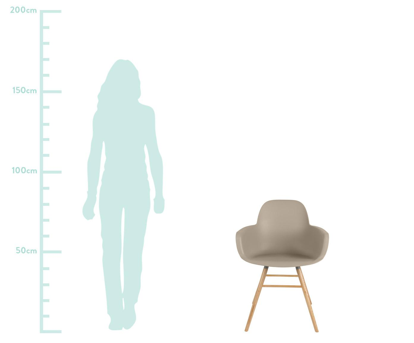 Armlehnstuhl Albert Kuip mit Holzbeinen, Sitzfläche: 100% Polypropylen, Füße: Eschenholz, Taupe, B 59 x T 55 cm