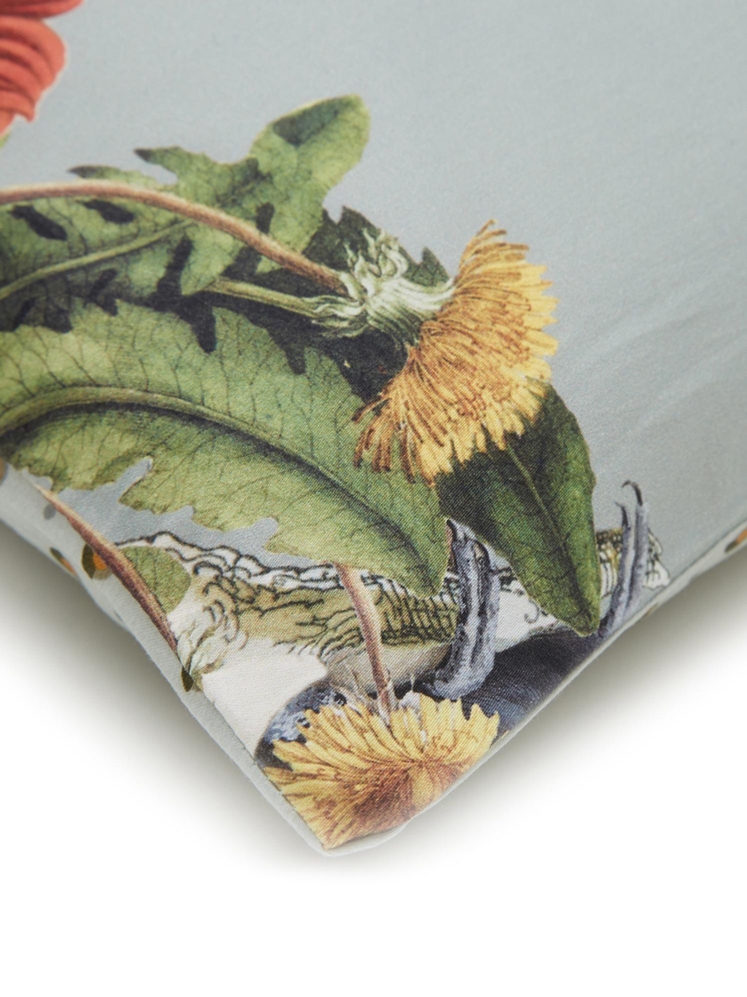 Dubbelzijdig katoensatijnen dekbedovertrek Airen, Weeftechniek: satijn, Grijsgroen, multicolour, 260 x 220 cm