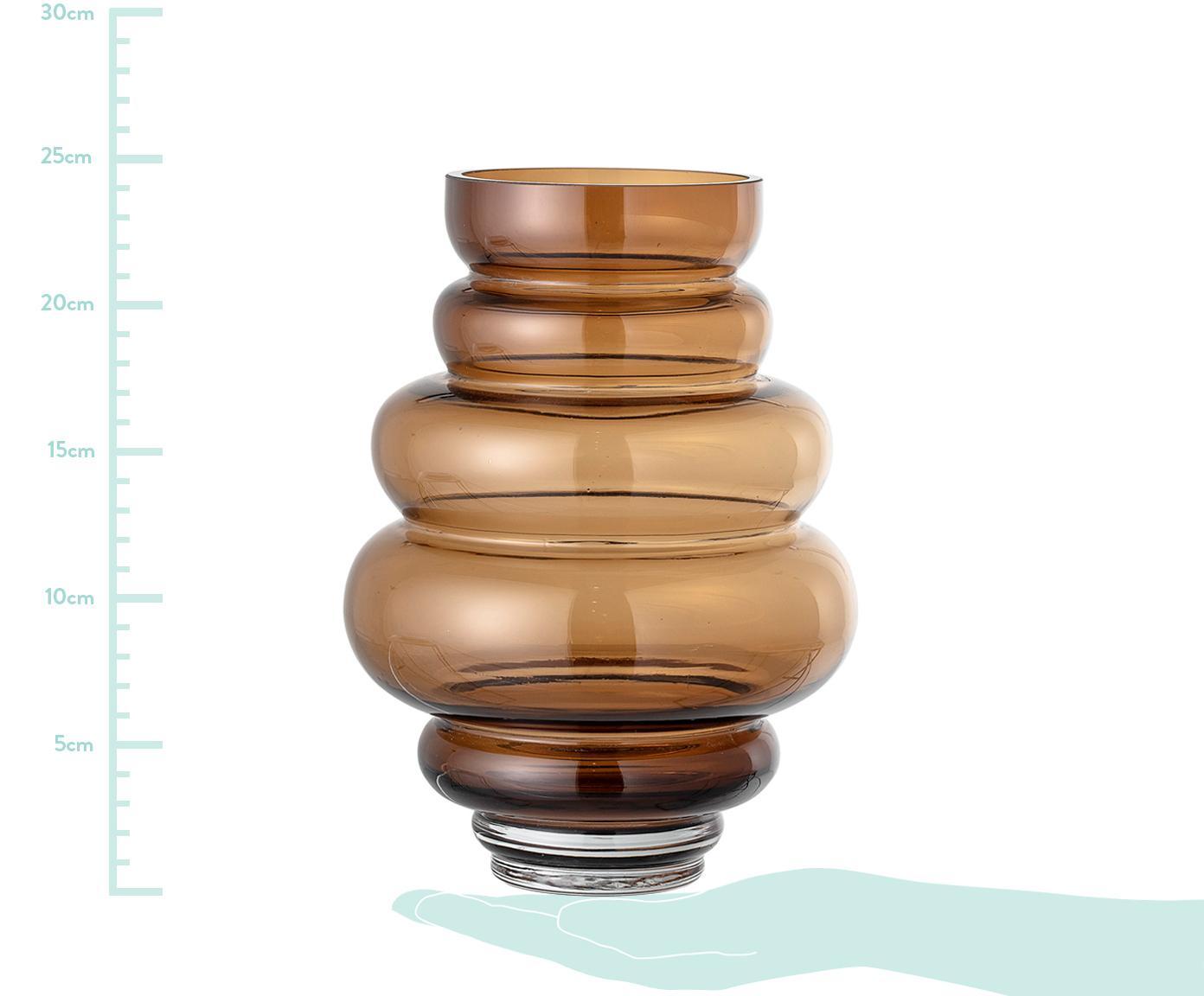 Vaso in vetro Bulli, Vetro, Marrone trasparente, Ø 18 x Alt. 24 cm