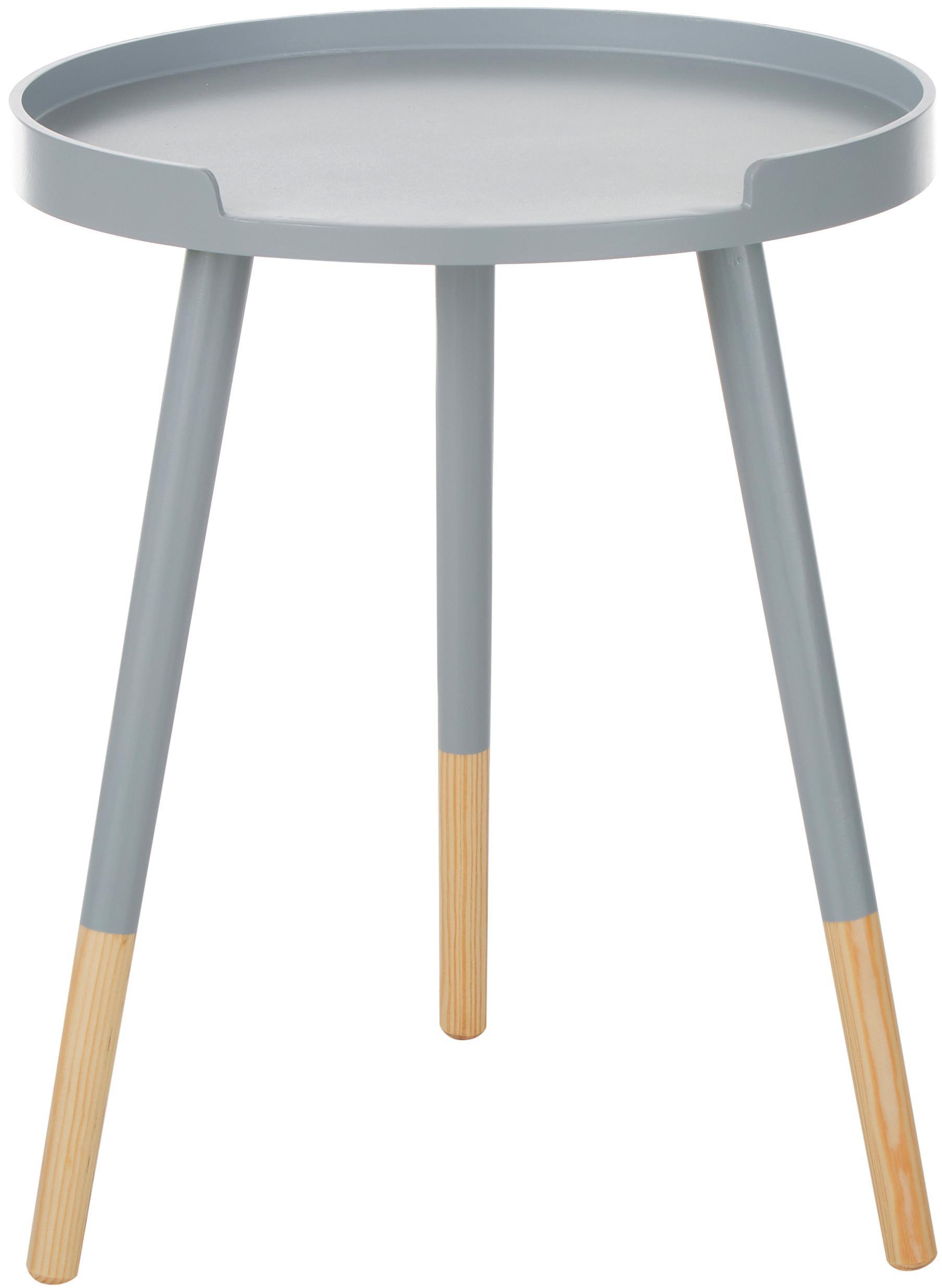 Runder Beistelltisch Ralph, Grau, Beige, Ø 40 x H 49 cm