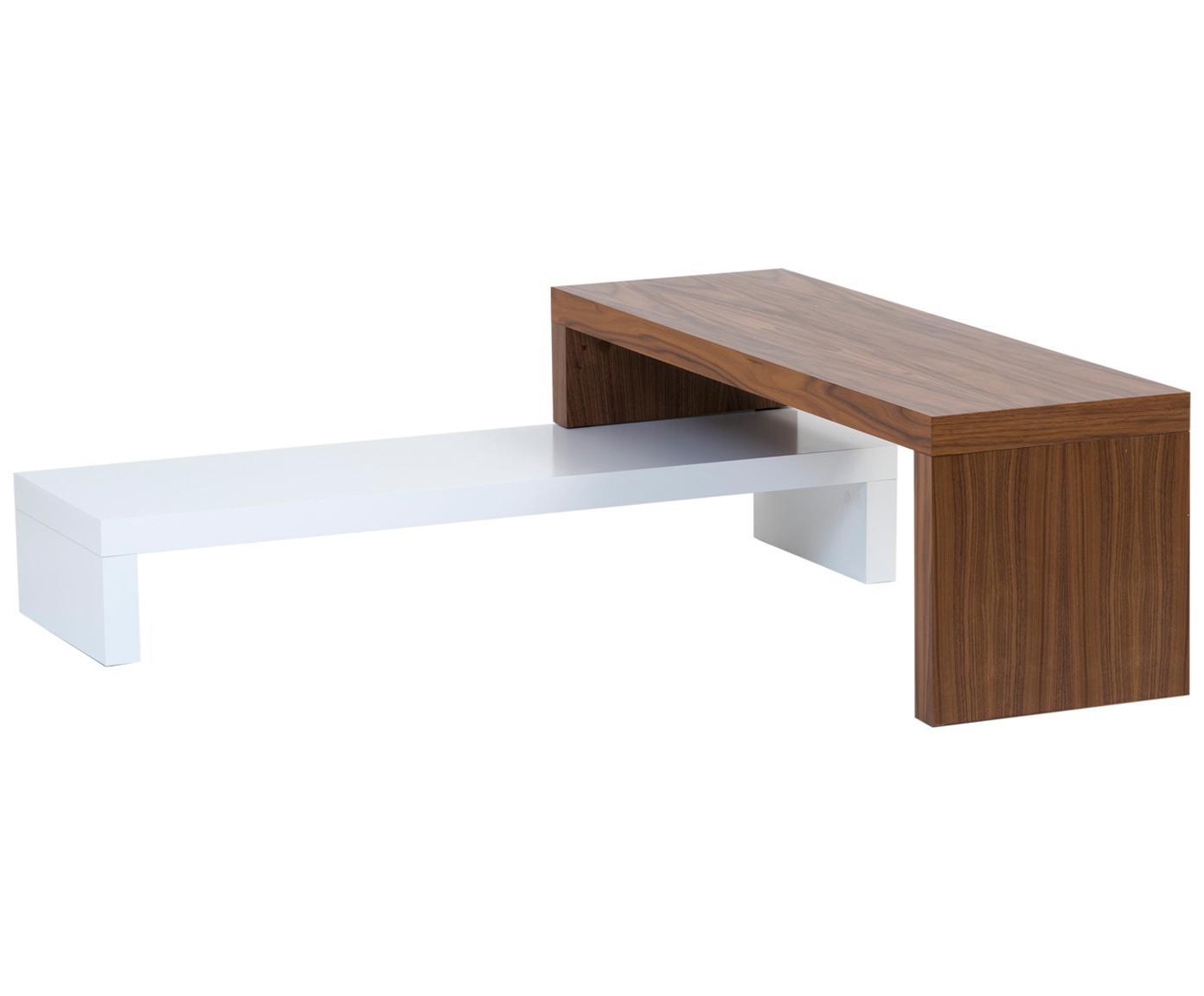 Szafka RTV Cliff, Korpus: drewniana płyta pilśniowa, Biały, brązowy, S 125 x W 40 cm