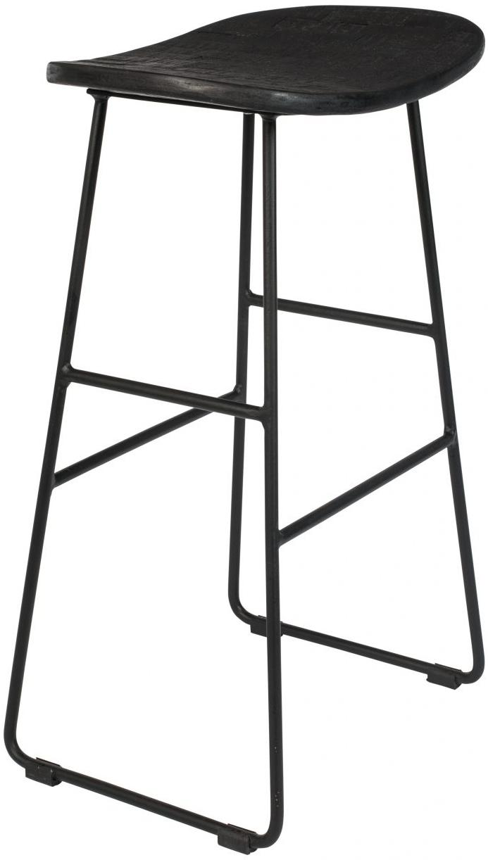 Taburete alto Tangle, Asiento: madera de teca reciclada , Patas: metal, con pintura en pol, Negro, An 40 x Al 65 cm
