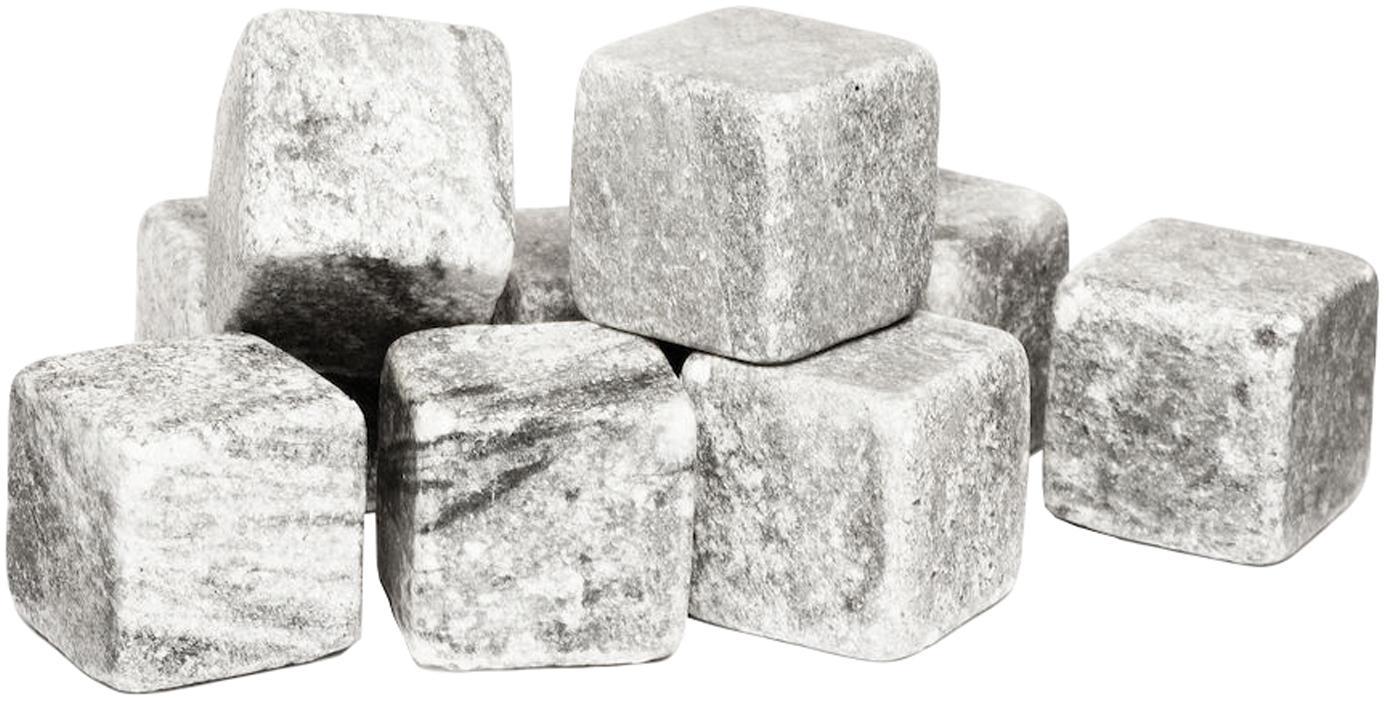 Set 9 pietre per il whisky Rocking, Pietra ollare, mussola, Grigio, Larg. 2 x Alt. 2 cm