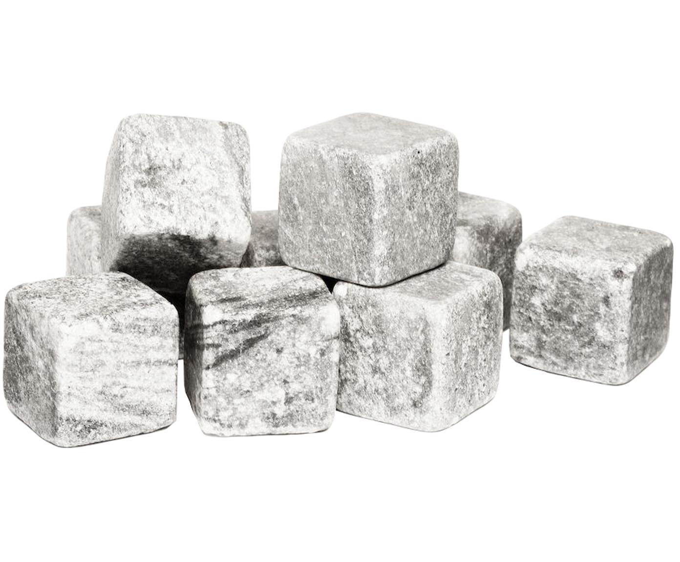 Set de piedras de whisky Rocking, 9pzas., Piedras: esteatita, Bolsa: terciopelo, Gris, An 2 x Al 2 cm