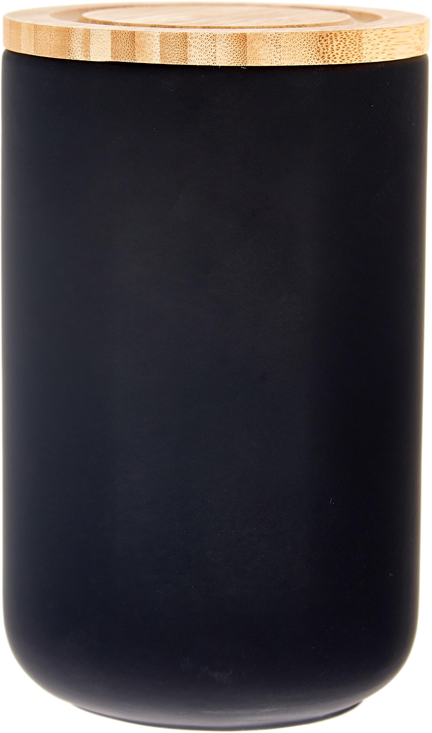 Opbergpot Stak, Pot: keramiek, Deksel: bamboehout, Zwart, bamboehoutkleurig, Ø 10 x H 17 cm