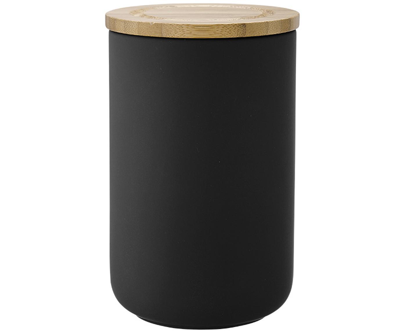 Contenitore Stak, Contenitore: ceramica, Coperchio: legno di bambù, Nero, legno di bambù, Ø 10 x Alt. 17 cm