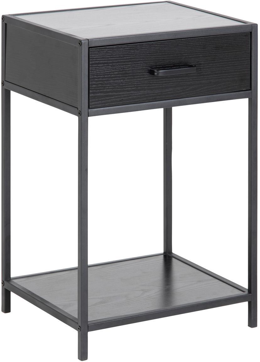 Mesilla de noche Seaford, Estructura: tablero de fibras de dens, Estructura: metal con pintura en polv, Negro, An 42 x Al 63 cm