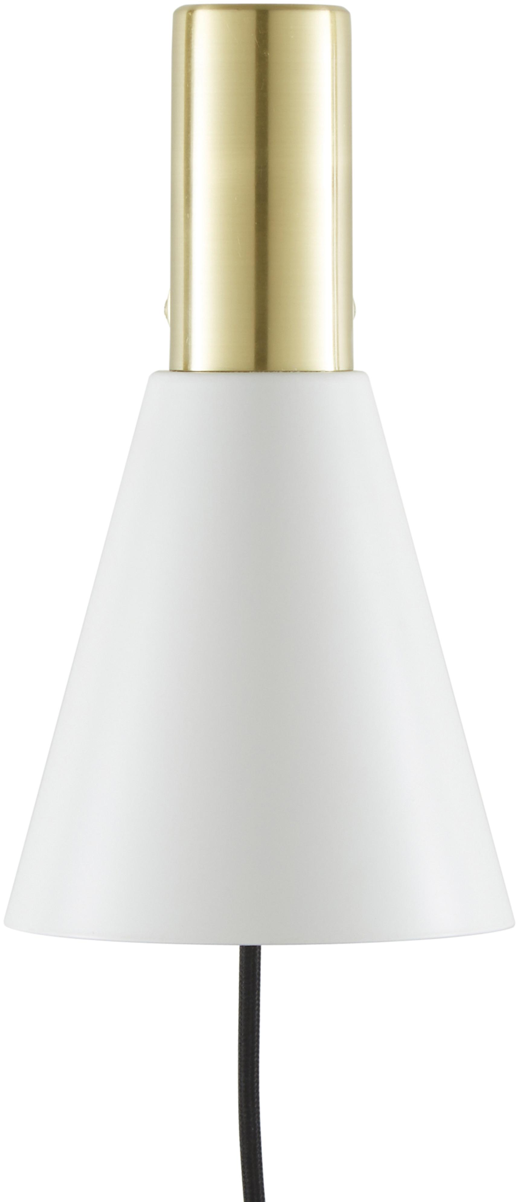 Wandleuchte Sia mit Stecker, Lampenschirm: Metall, pulverbeschichtet, Weiß, Messingfarben, Ø 13 x H 27 cm