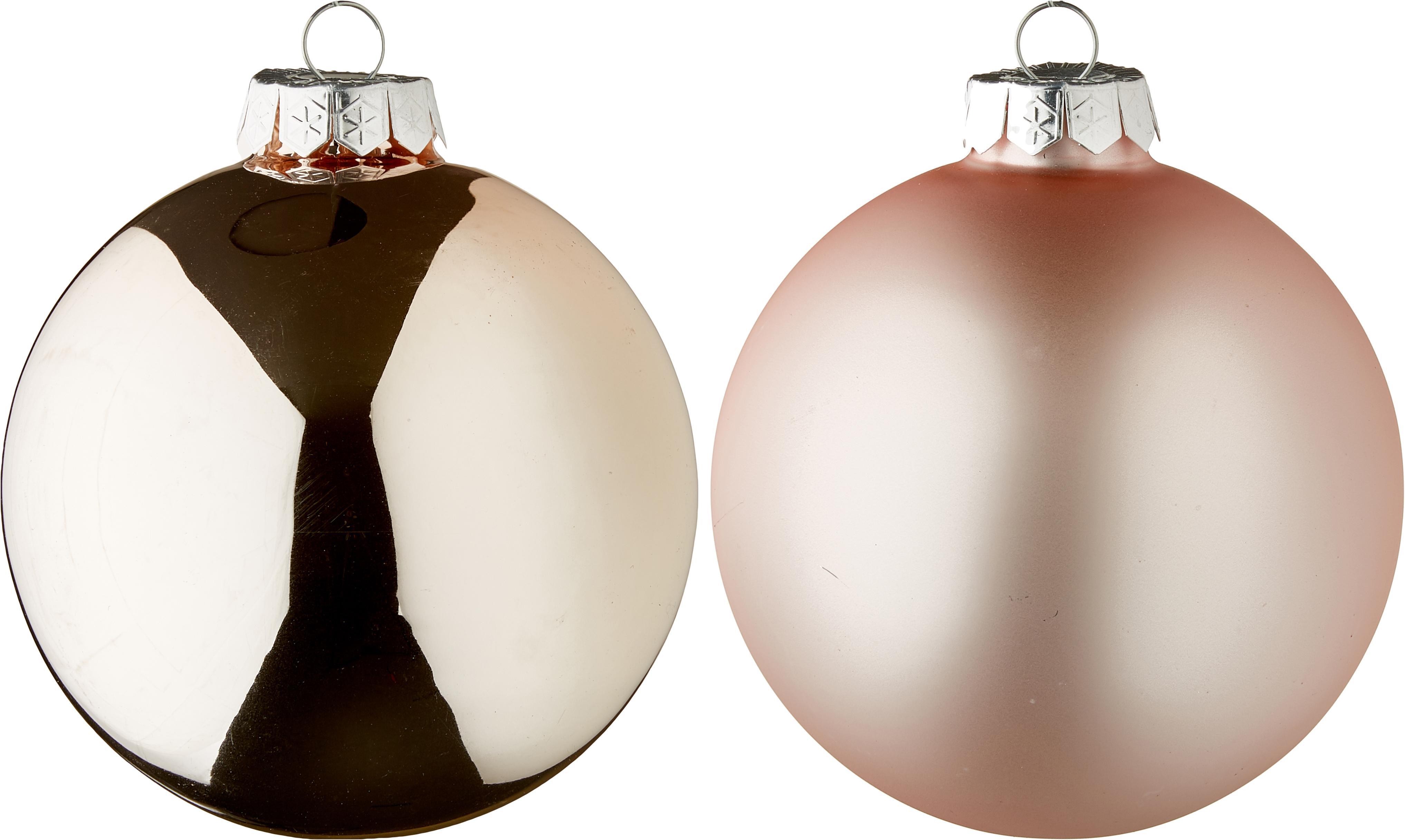 Weihnachtskugel-Set Lorene Ø10cm, 4-tlg., Rosa, matt und glänzend, Ø 10 cm