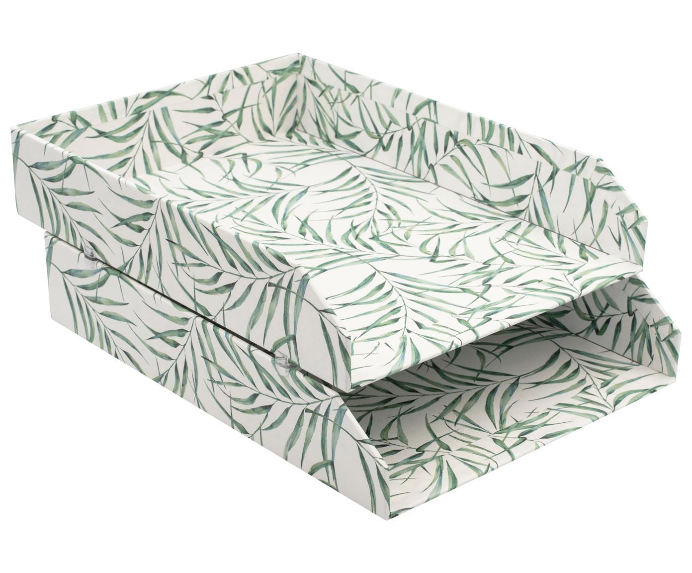 Documentenhouders Breeze, 2 stuks, Stevig, gelamineerd karton, Wit, groen, B 23 x D 31 cm