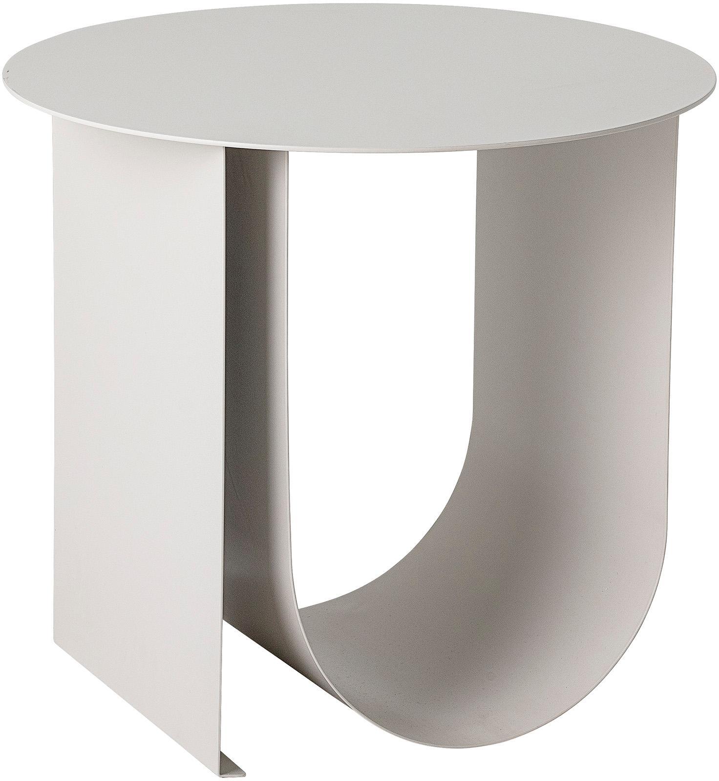 Mesa auxiliar de metal Cher, estilo moderno, Metal recubierto, Gris, Ø 43 x Al 38 cm