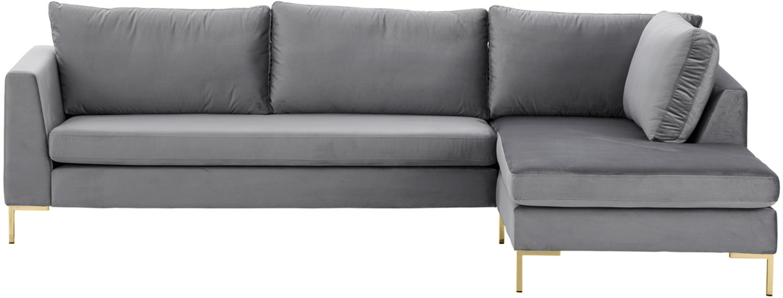 Samt-Ecksofa Luna, Bezug: Samt (Polyester) Der hoch, Gestell: Massives Buchenholz, Füße: Metall, galvanisiert, Samt Dunkelgrau,Gold, B 280 x T 184 cm