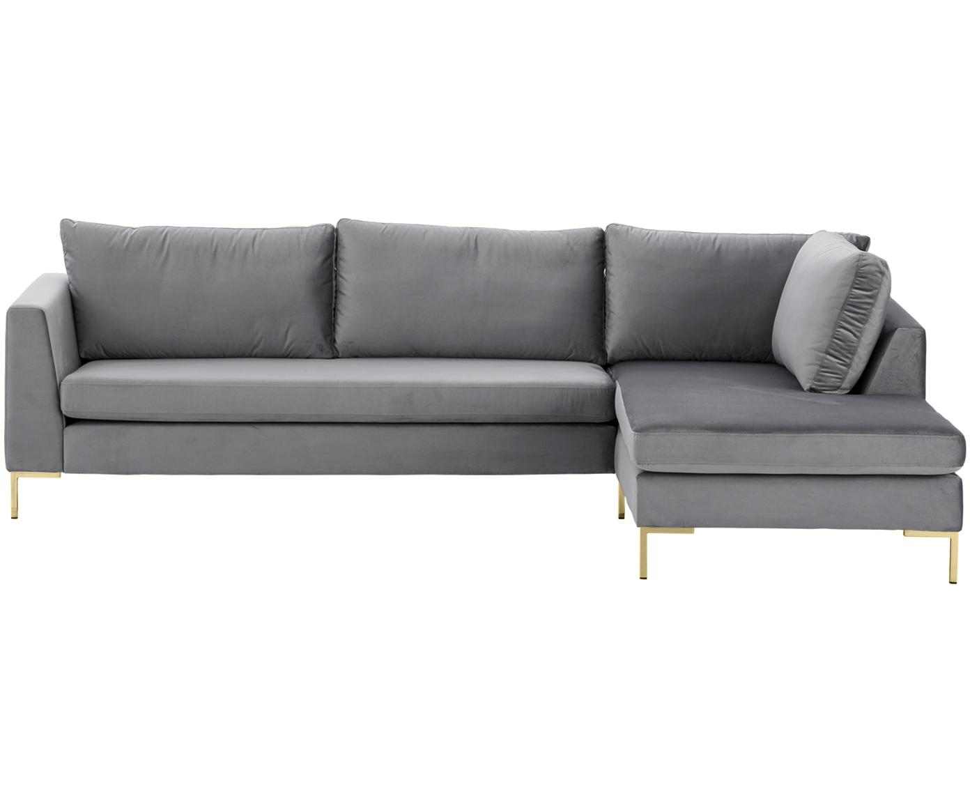 Samt-Ecksofa Luna, Bezug: Samt (Polyester) 80.000 S, Gestell: Massives Buchenholz, Füße: Metall, galvanisiert, Samt Dunkelgrau,Gold, B 280 x T 184 cm
