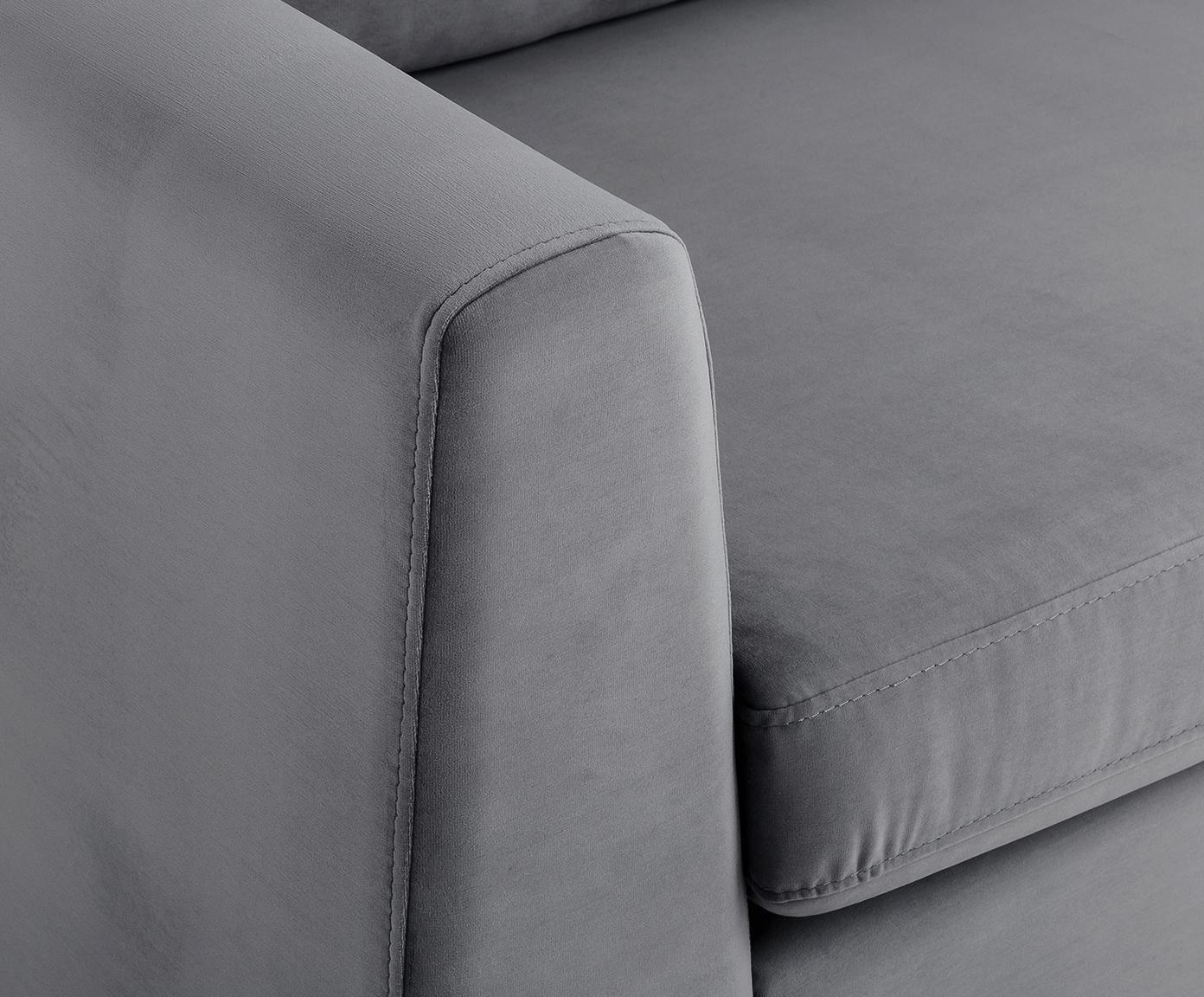 Fluwelen hoekbank Luna, Bekleding: fluweel (polyester), Frame: massief beukenhout, Poten: gegalvaniseerd metaal, Donkergrijs, B 280 x D 184 cm
