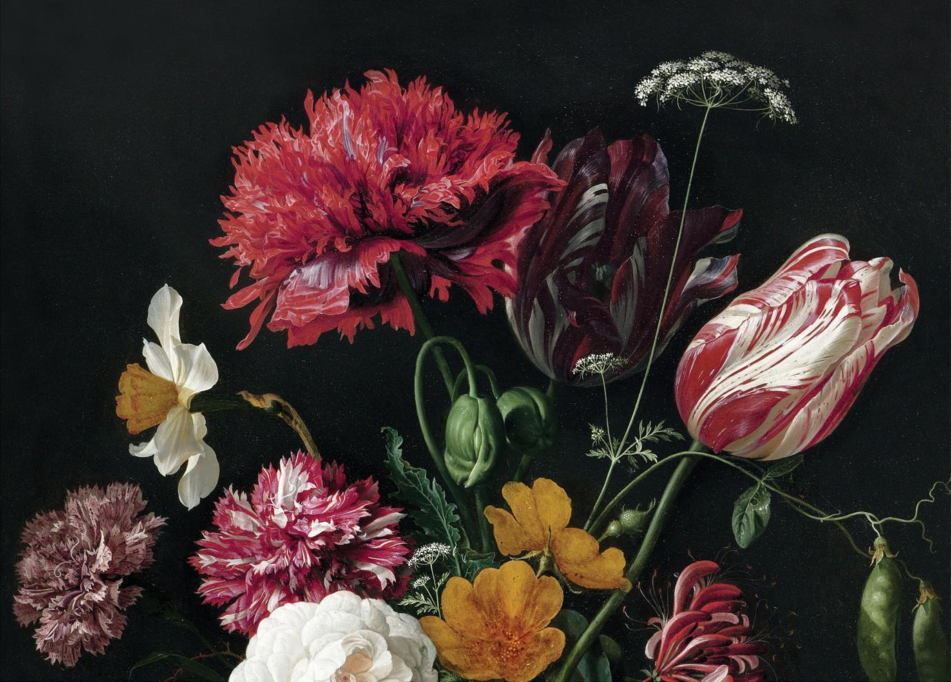 Fototapete Golden Age Flowers, Vlies, umweltfreundlich und biologisch abbaubar, Mehrfarbig, matt, 389 x 280 cm