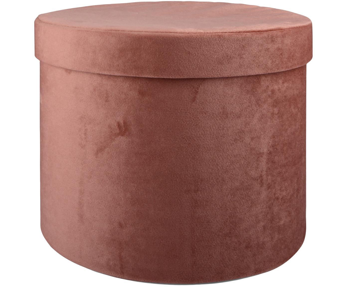 Fluwelen geschenkdozen Ivetta, 2 stuks, Fluweel, Roze, Ø 29 x H 22 cm