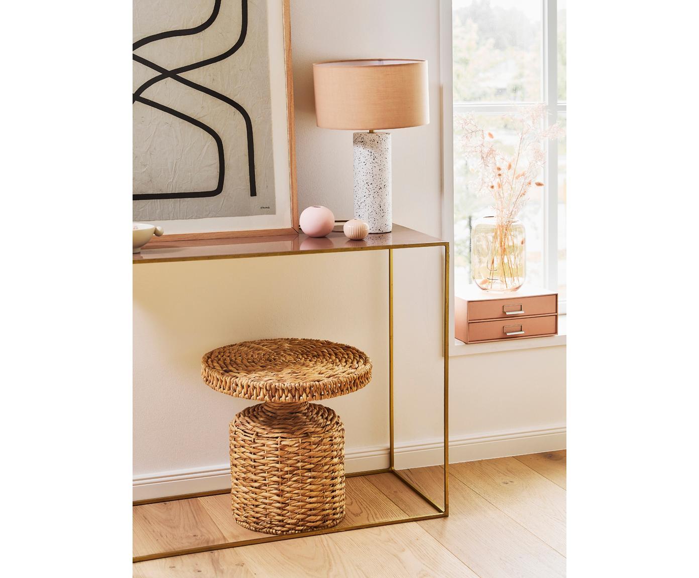 Okrągły stolik pomocniczy z rattanu Camo, Rattan, Rattan, Ø 47 x W 47 cm