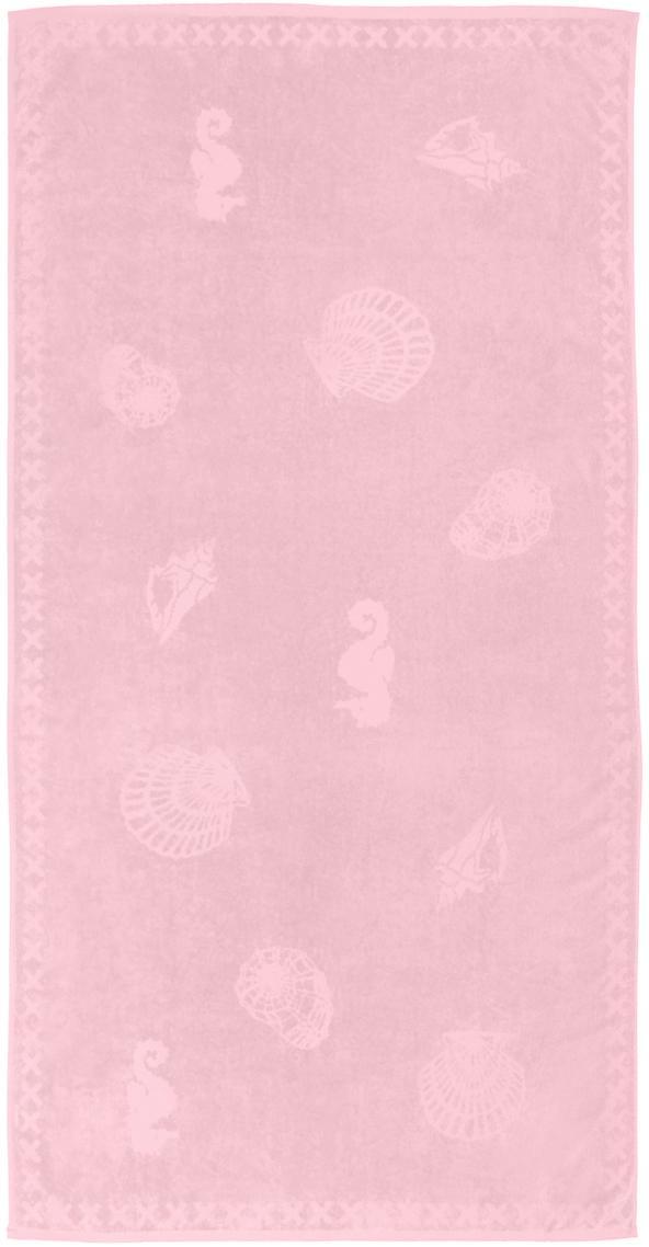 Strandtuch Shells, Vorderseite: 100% Velour (Ägyptische B, Rückseite: Frottee (Baumwolle) Leich, Rosa, 100 x 200 cm