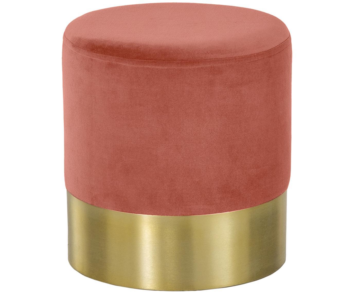 Puf de terciopelo Harlow, Tapizado: terciopelo de algodón, Coral, dorado, Ø 38 x Al 42 cm