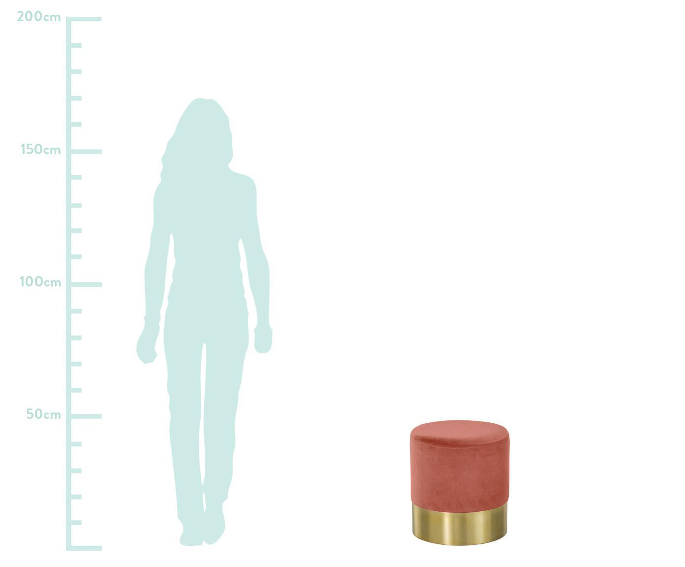 Samt-Hocker Harlow, Bezug: Baumwollsamt, Fuß: Metall, pulverbeschichtet, Koralle, Goldfarben, Ø 38 x H 42 cm