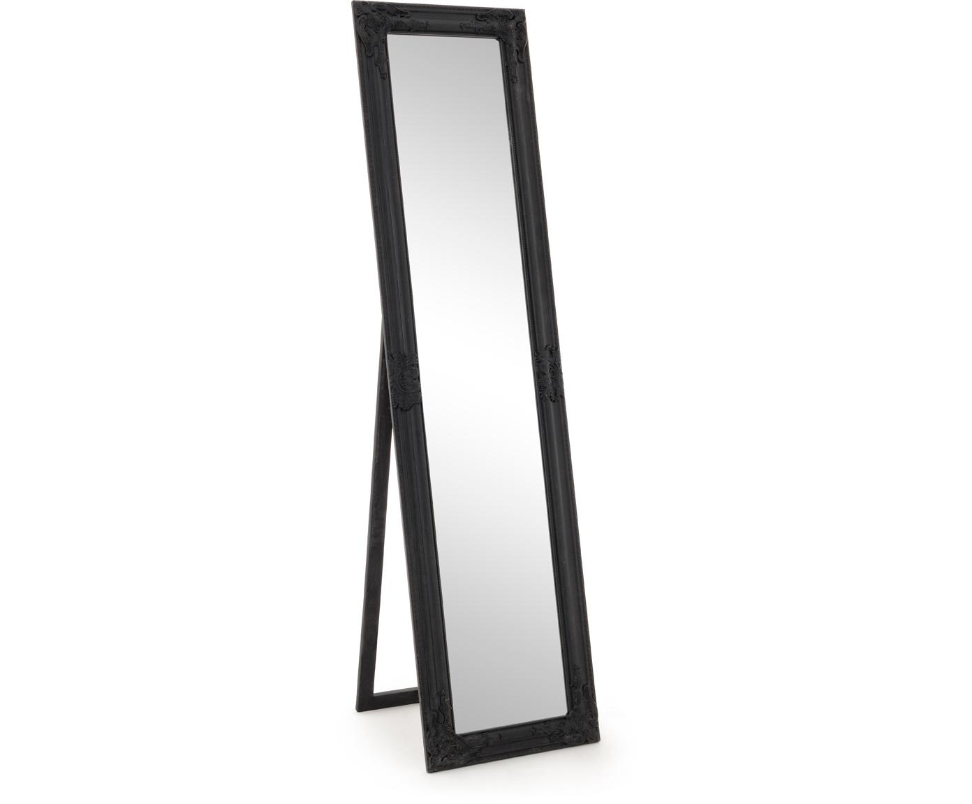 Specchio da terra con cornice nera Miro, Cornice: legno, rivestito, Superficie dello specchio: lastra di vetro, Nero, Larg. 40 x Alt. 160 cm