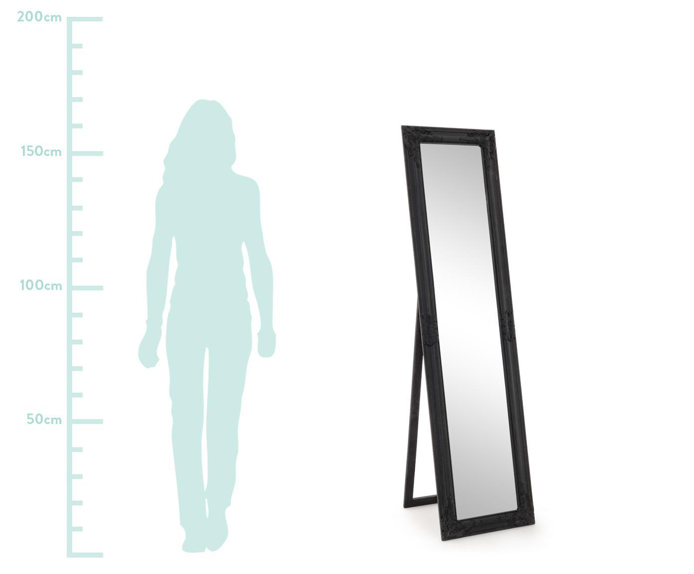 Standspiegel Miro mit schwarzem Rahmen, Rahmen: Holz, beschichtet, Spiegelfläche: Spiegelglas, Schwarz, 40 x 160 cm