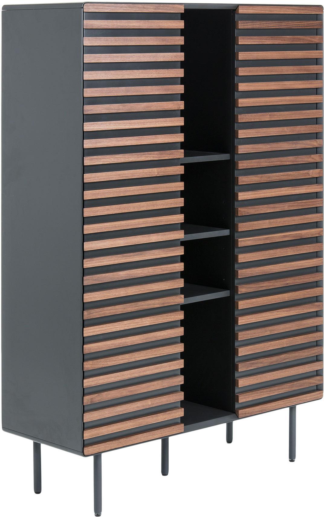 Credenza alta con finitura in noce Kesia, Piedini: metallo, verniciato, Nero, legno di noce, Larg. 105 x Alt. 155 cm