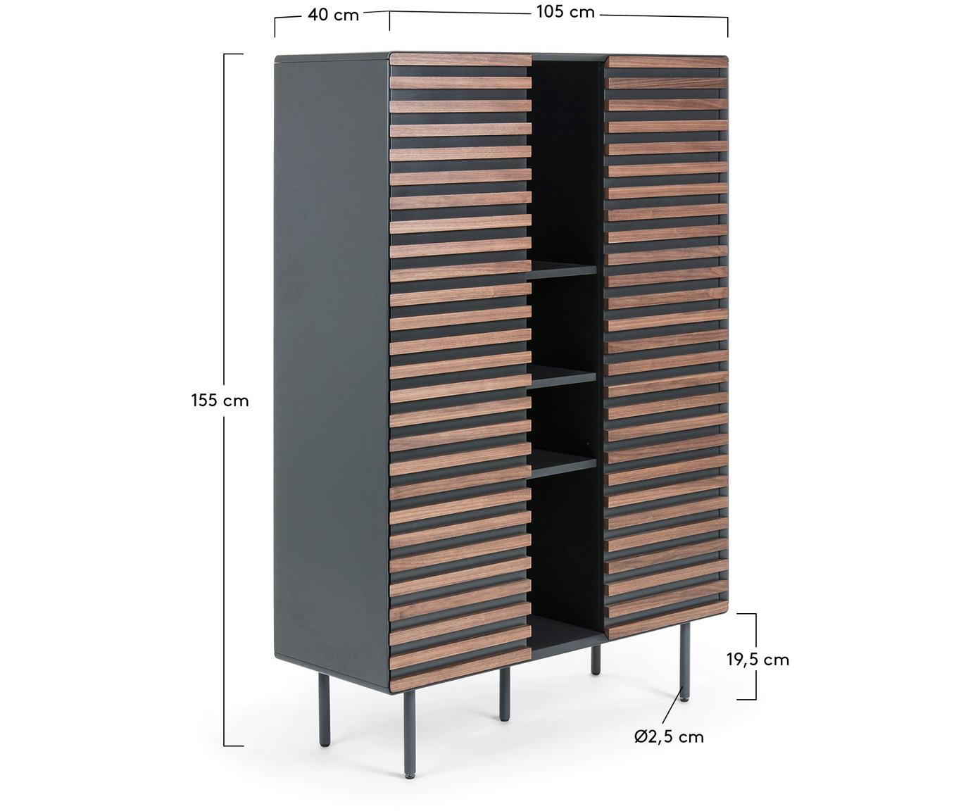 Highboard Kesia mit Walnussfurnier, Korpus: Mitteldichte Holzfaserpla, Front: Walnussfurnier, Füße: Metall, lackiert, Schwarz, Walnussholz, 105 x 155 cm