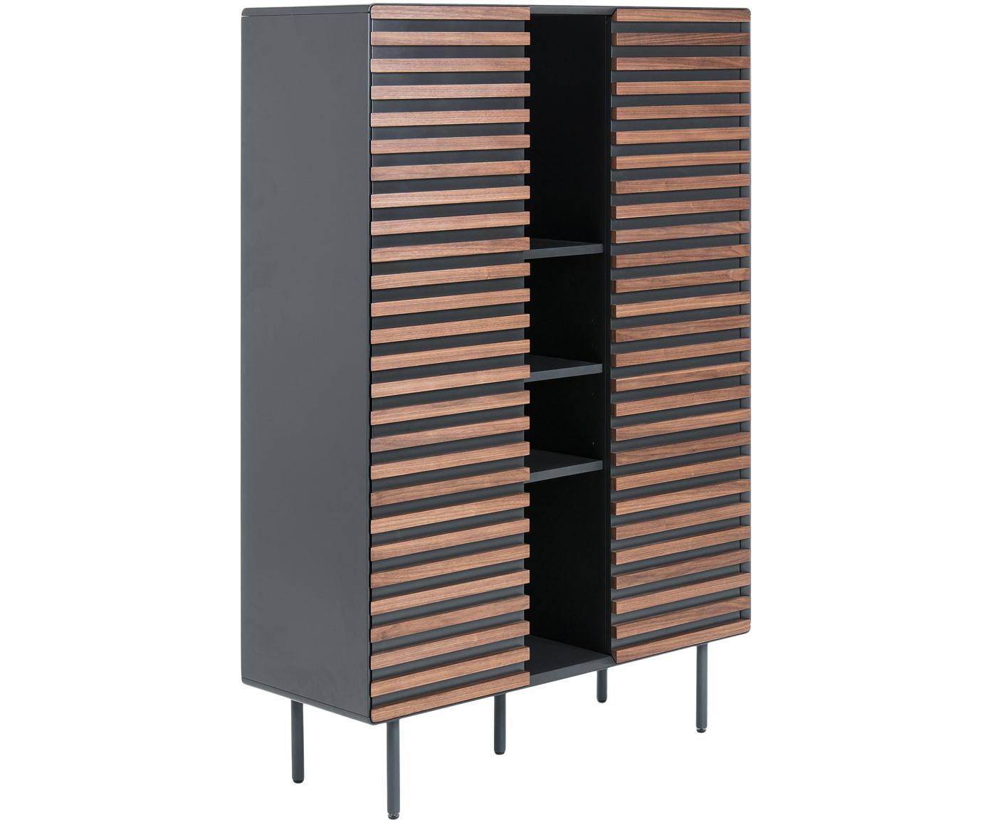 Dressoir Kesia met walnoothoutfineer, Frame: gelakt MDF, Poten: gelakt metaal, Zwart, walnootkleurig, 105 x 155 cm