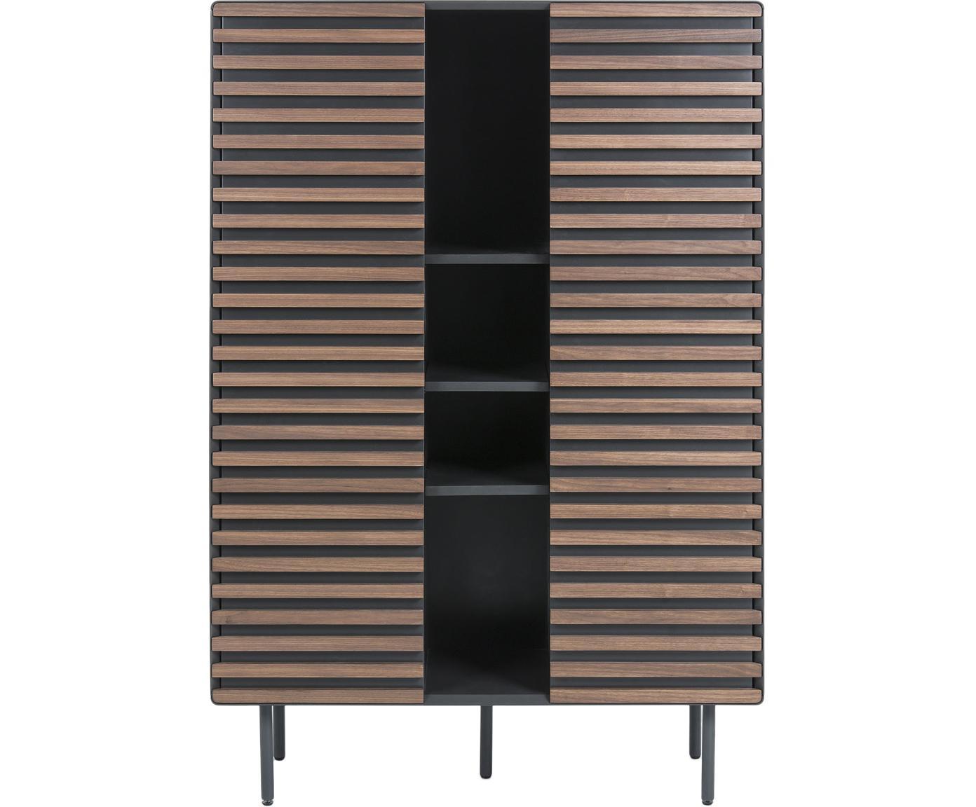Wysoka komoda Kesia, Korpus: płyta pilśniowa średniej , Nogi: metal lakierowany, Czarny, drewno orzecha włoskiego, S 105 x W 155 cm