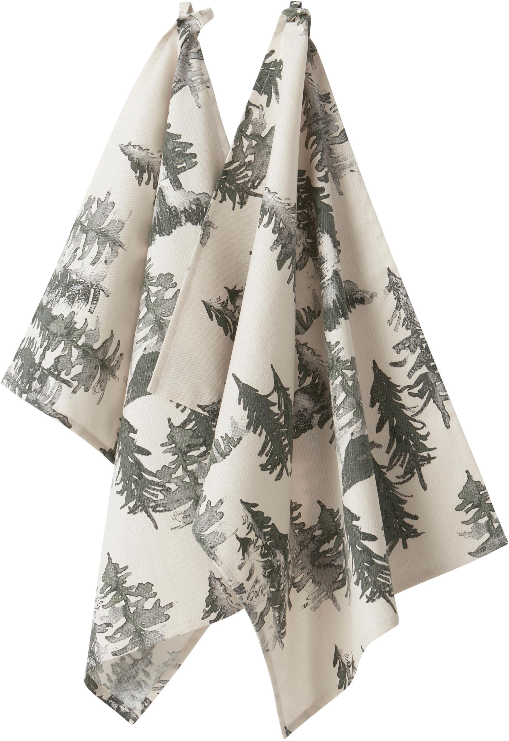 Theedoeken Forrest, 2 stuks, 100% katoen, afkomstig van duurzame katoenteelt, Crèmekleurig, groen- en grijstinten, 50 x 70 cm