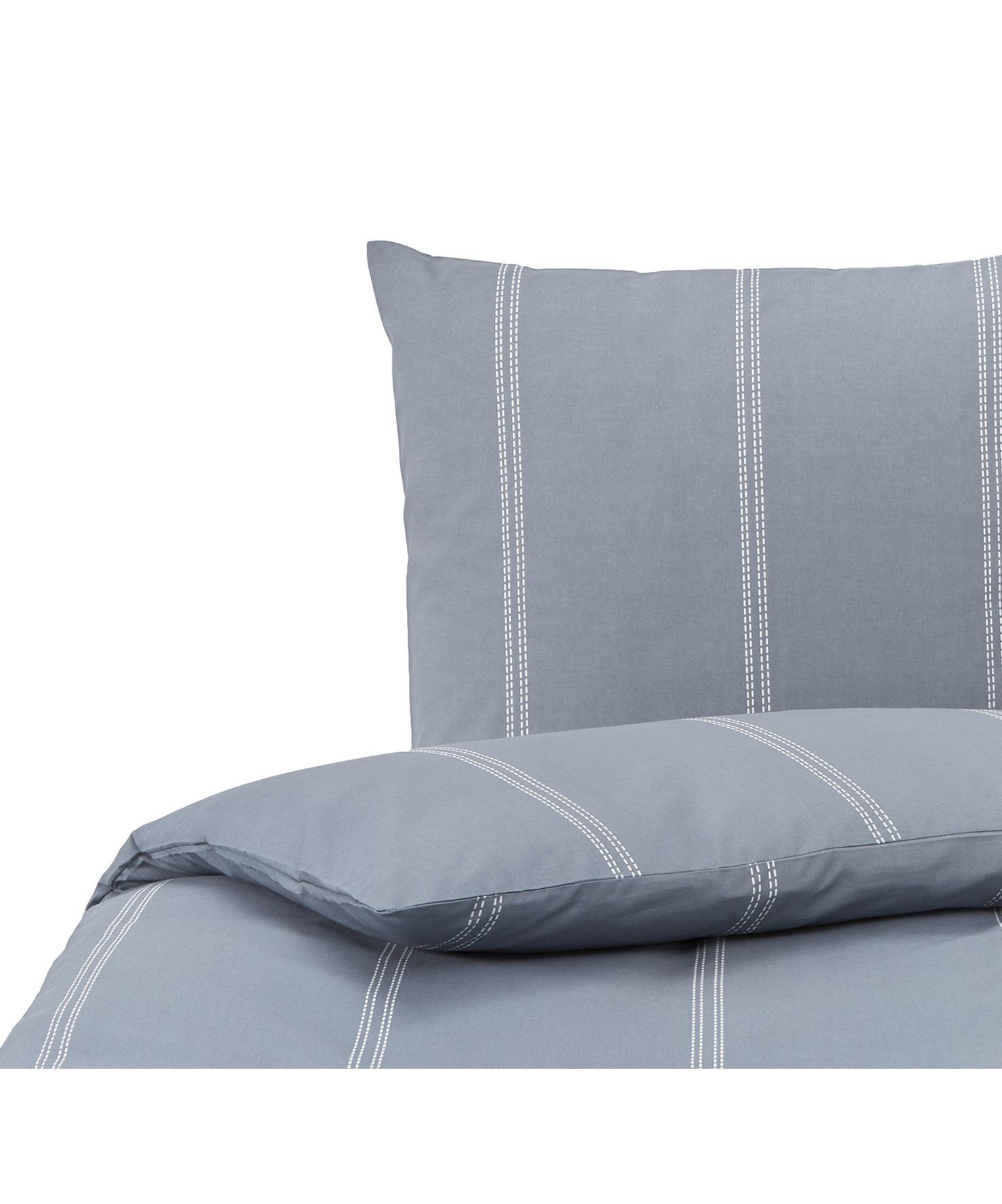 Dekbedovertrek Remade, 52% gerecycled polyester, 48% gerecycled katoen, Blauw, wit, 140 x 220 cm