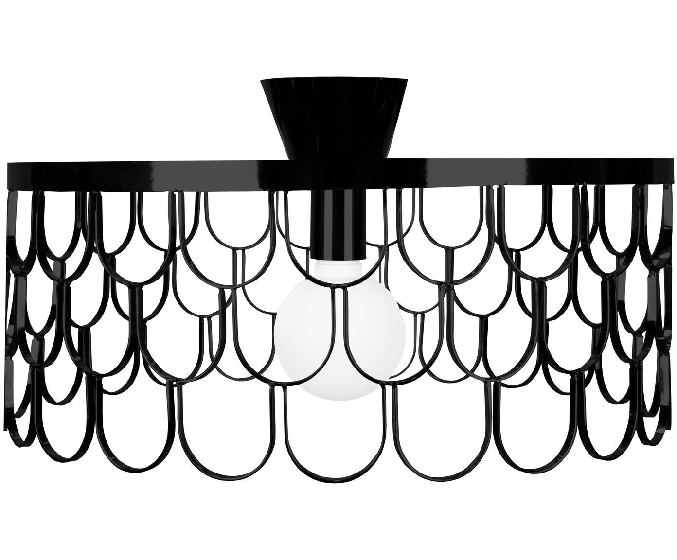 Plafoniera di design in argento Gatsby, Metallo verniciato, Nero, Ø 50 x Alt. 20 cm