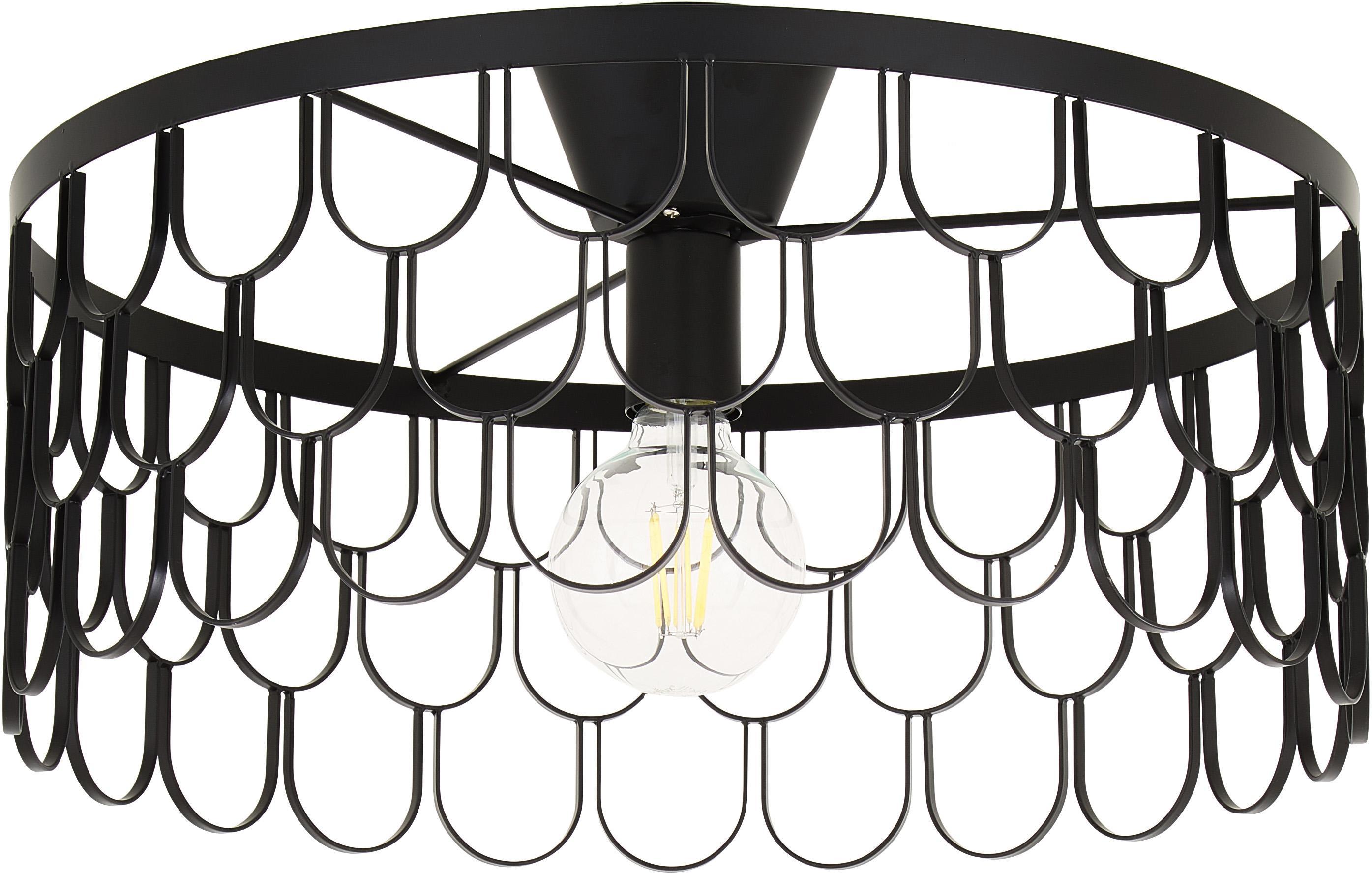 Design plafondlamp Gatsby in zwart, Gelakt metaal, Zwart, Ø 50 x H 20 cm