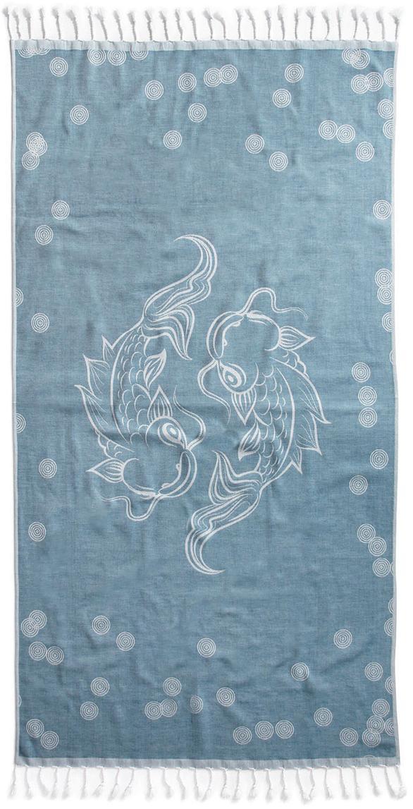 Hamamtuch Pisces, 100% Baumwolle leichte Stoffqualität, 210g/m², Blau, Weiss, 90 x 180 cm
