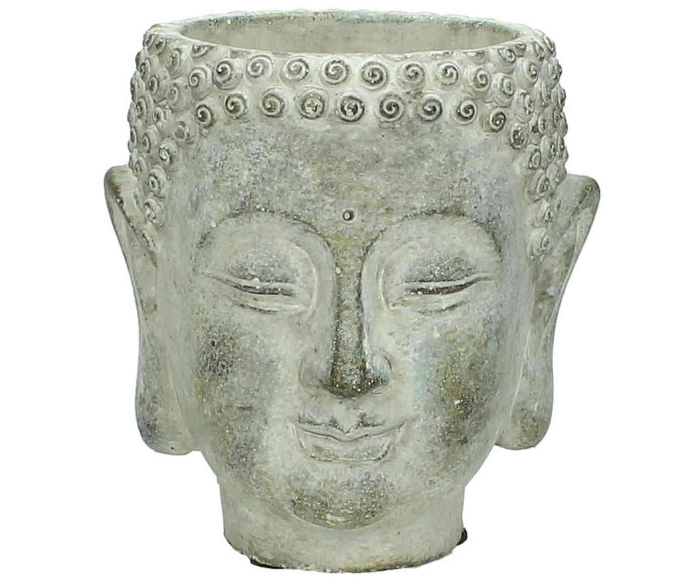 Plantenpot Head, Beton, Grijs, crèmewit, 13 x 14 cm