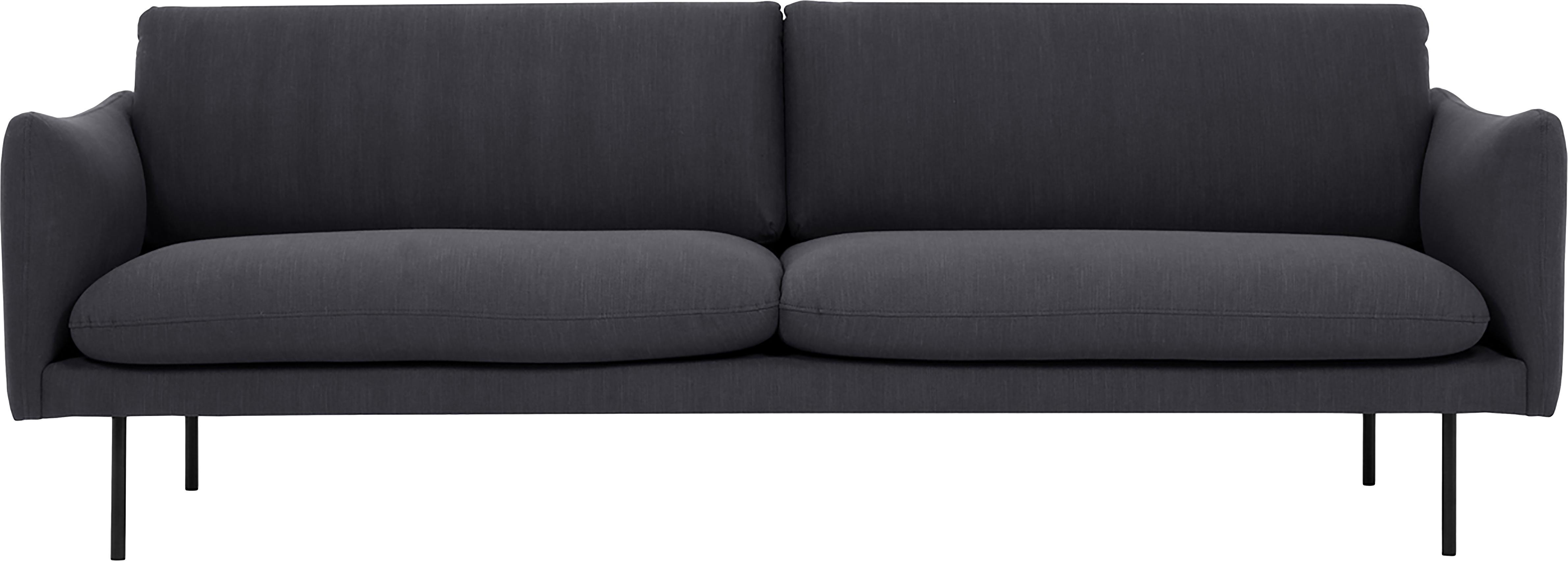 Sofa Moby (3-Sitzer), Bezug: Polyester Der hochwertige, Gestell: Massives Kiefernholz, Füße: Metall, pulverbeschichtet, Webstoff Dunkelgrau, B 220 x T 95 cm