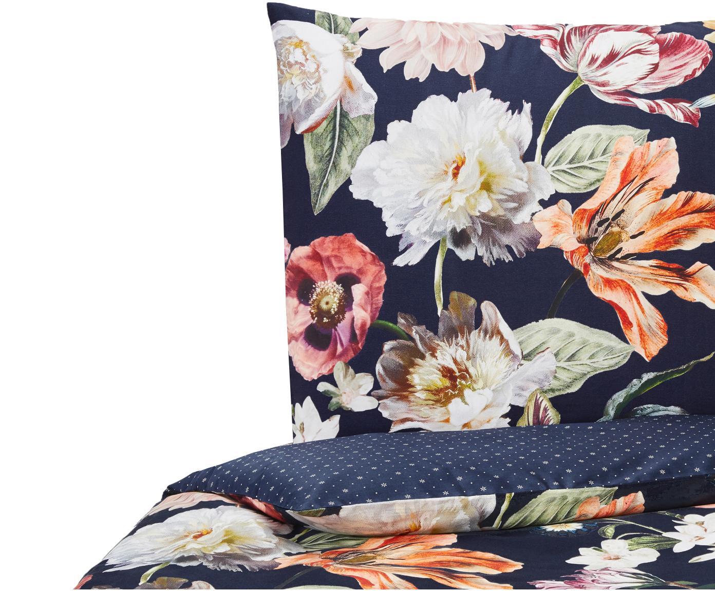 Baumwollsatin-Wendebettwäsche Filou mit Blumen-Muster, Webart: Satin Fadendichte 209 TC,, Dunkelblau, Mehrfarbig, 135 x 200 cm + 1 Kissen 80 x 80 cm