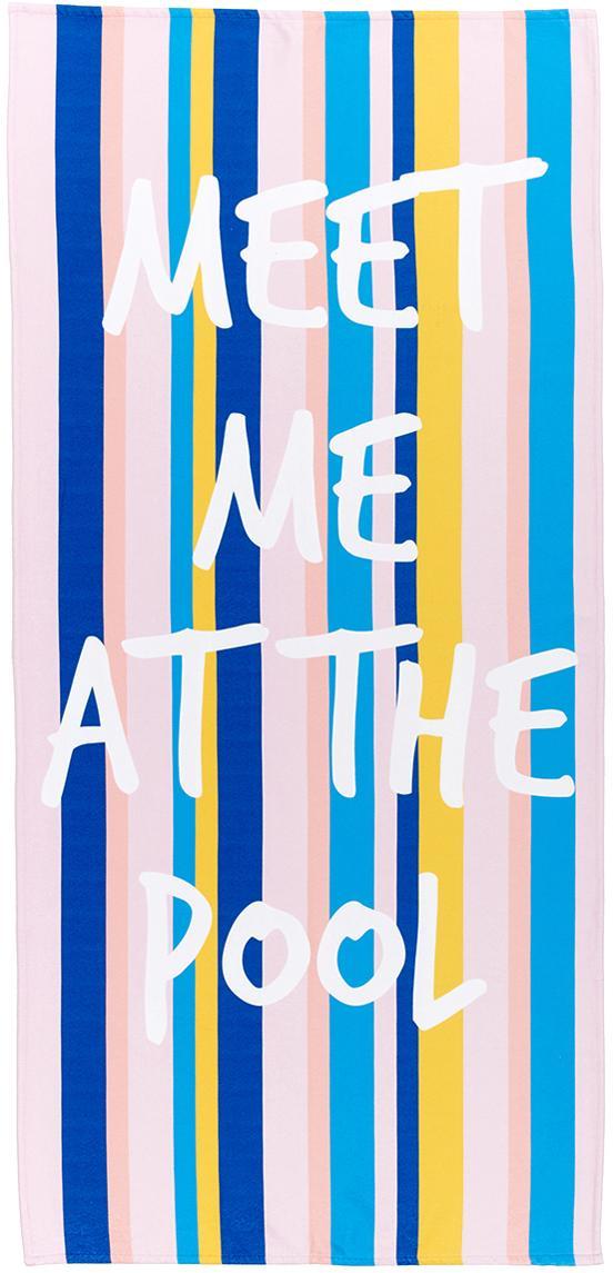 Leichtes Strandtuch Meet Me mit Schriftzug, 55% Polyester, 45% Baumwolle Sehr leichte Qualität, 340 g/m², Mehrfarbig, 70 x 150 cm