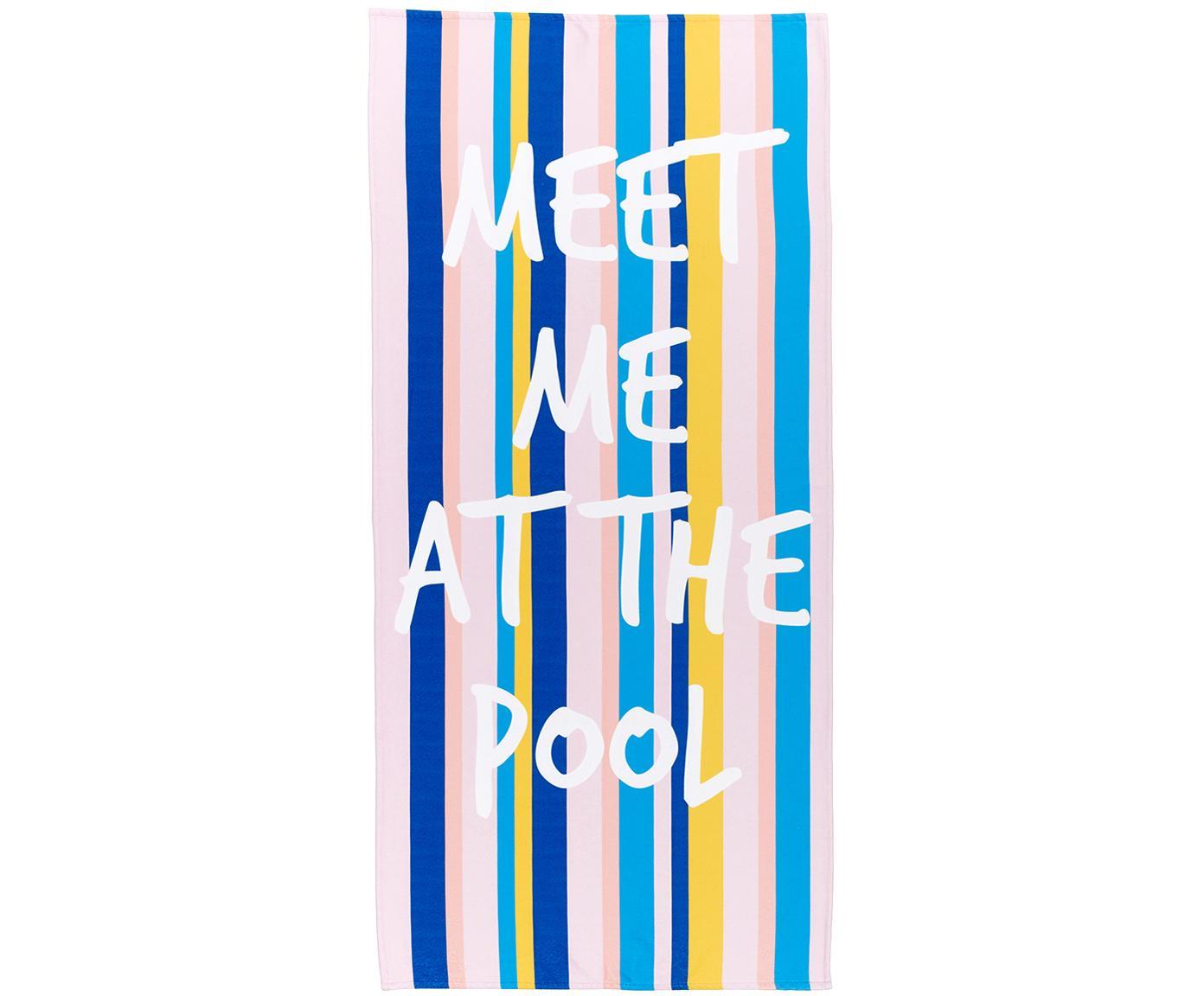 Telo mare leggero con scritte Meet Me, 55% poliestere, 45% cotone, qualità molto leggera 340 g/m², Multicolore, Larg. 70 x Lung. 150 cm