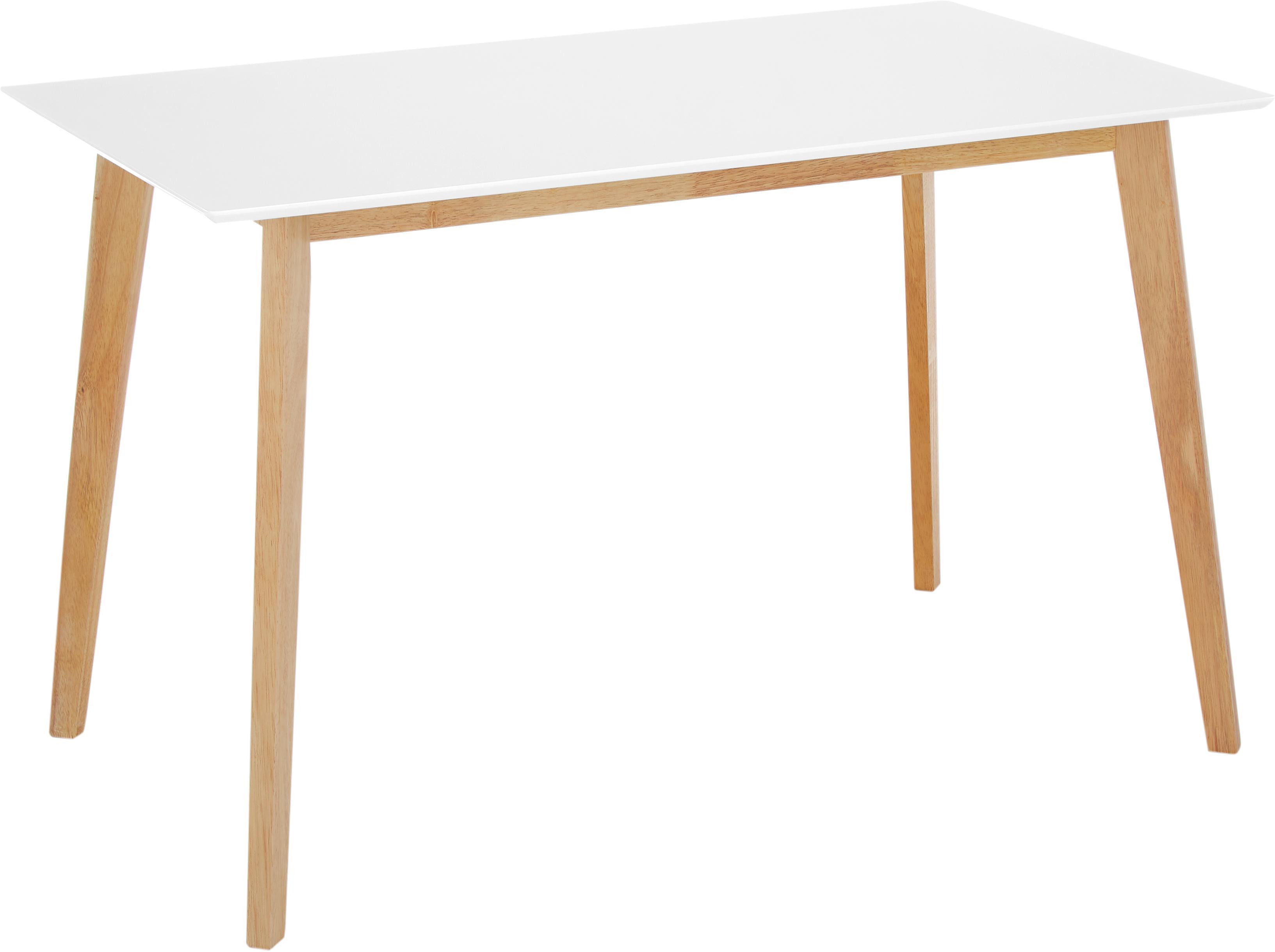 Esstisch Vojens mit weisser Tischplatte, Tischplatte: Mitteldichte Holzfaserpla, Beine: Gummibaumholz, Weiss, Braun, B 120 x T 70 cm