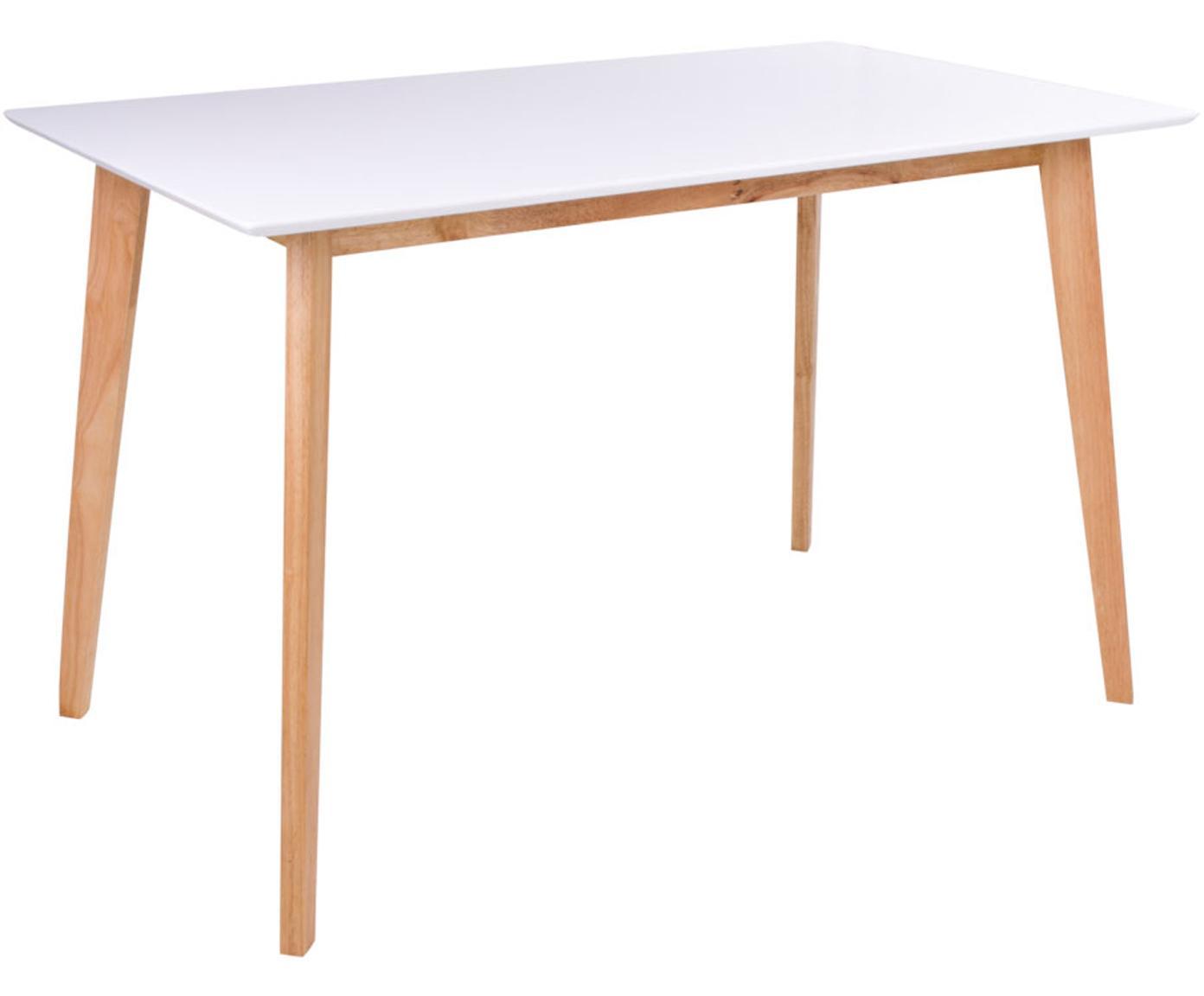 Tavolo con piano bianco Vojens, Piano d'appoggio: pannello di fibra a media, Piedini: legno di caucciù, Bianco, marrone, Larg. 120 x Prof. 70 cm
