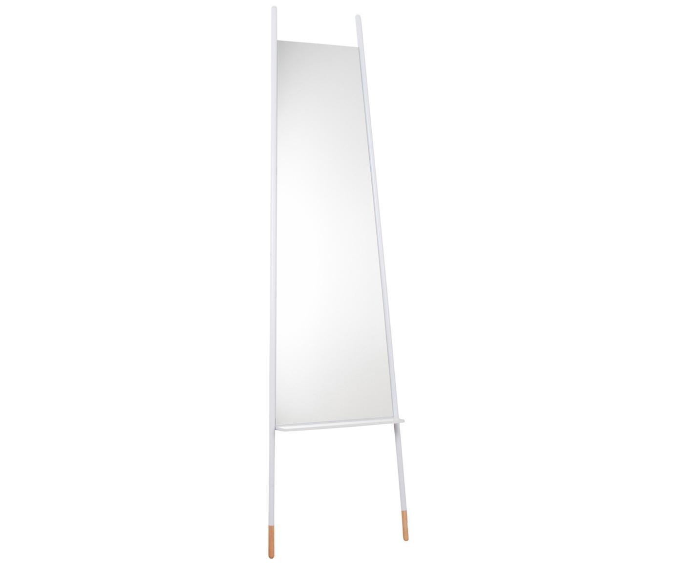 Specchio da terra con ripiano Leaning, Cornice: metallo, piedi in legno, Superficie dello specchio: lastra di vetro, Bianco, lastra di vetro, Alt. 171 x Larg. 48 cm