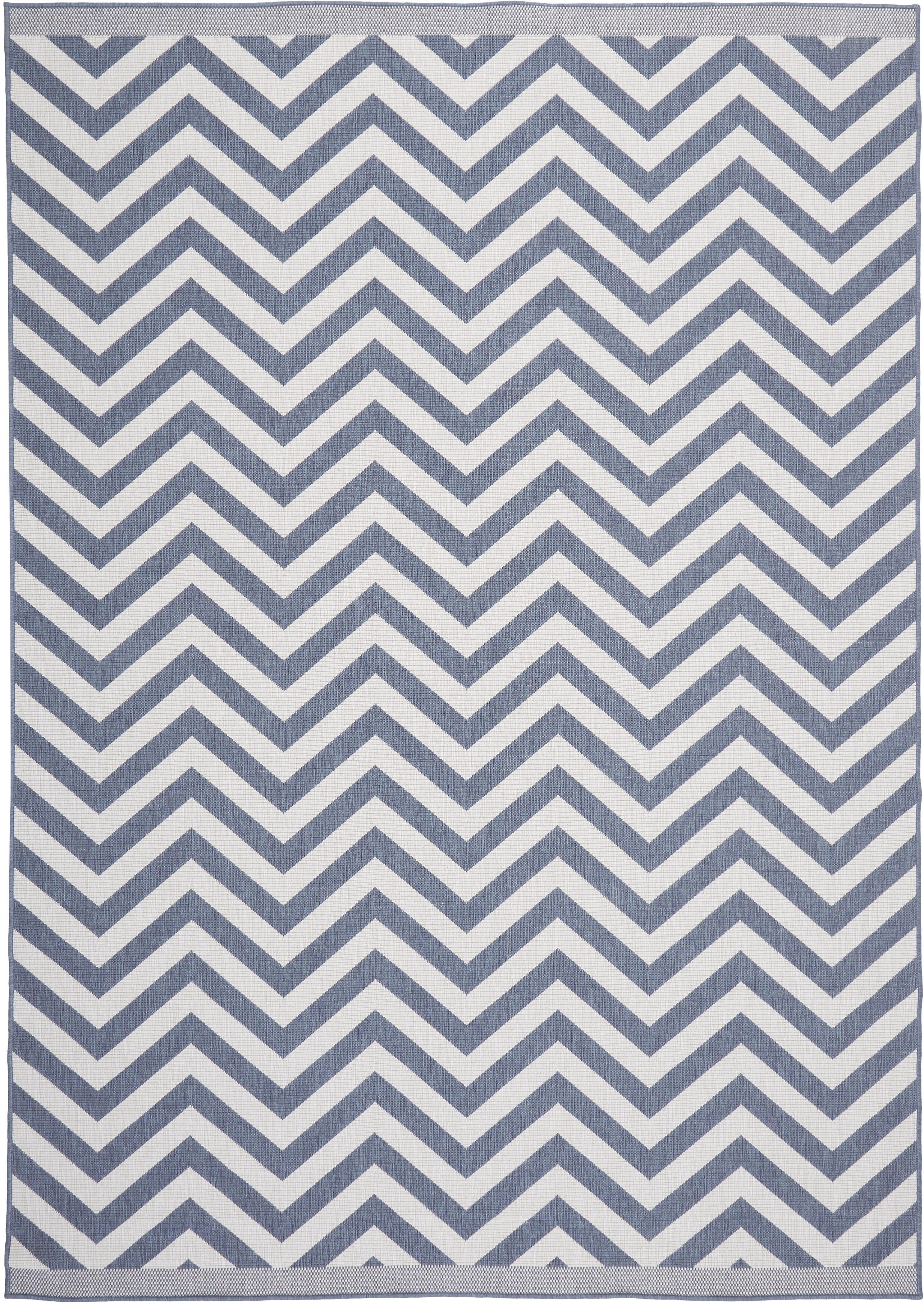 Tappeto reversibile da interno-esterno Palma, Blu, crema, Larg. 200 x Lung. 290 cm (taglia L)