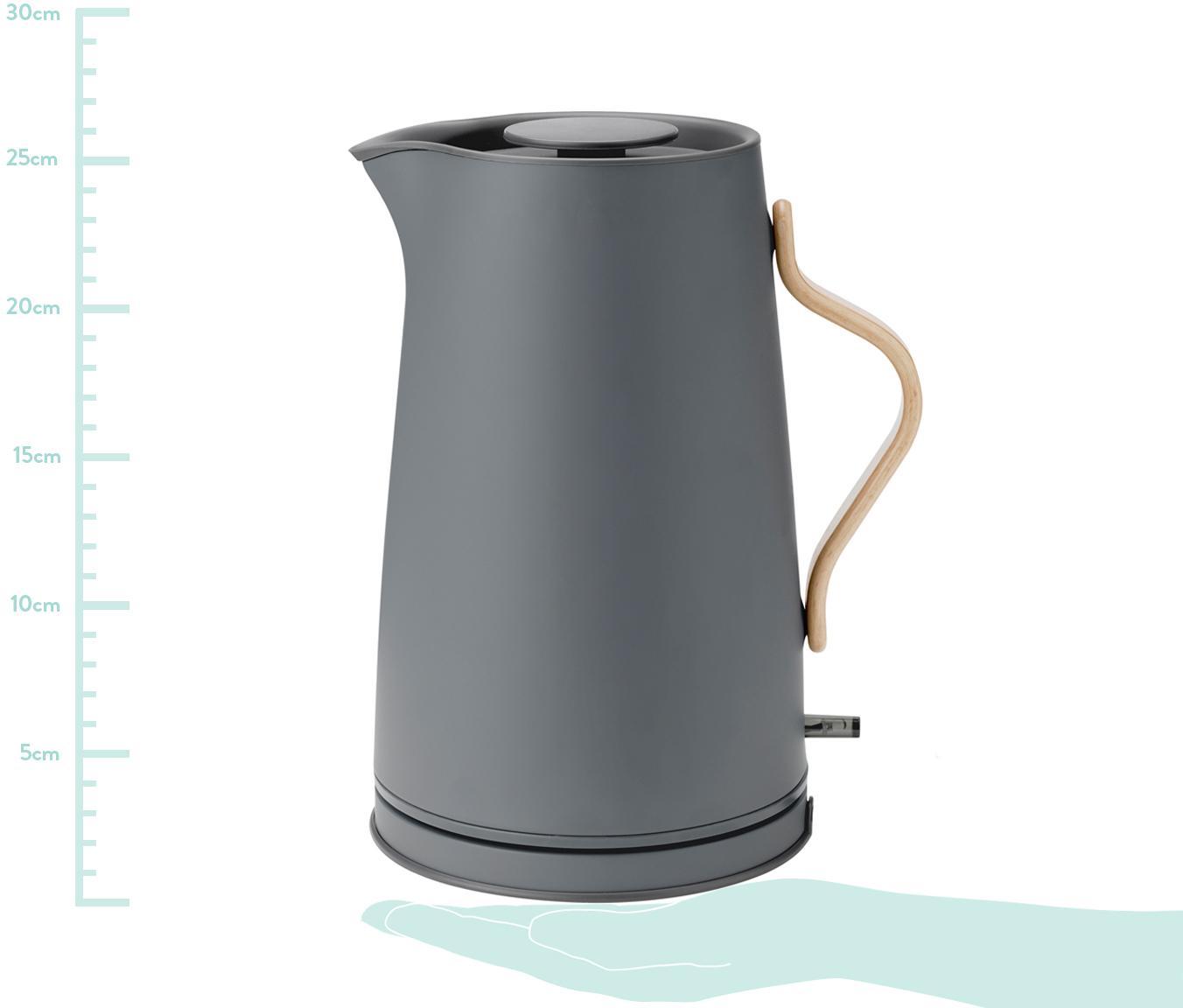Bollitore elettrico grigio opaco Emma, Struttura: acciaio inossidabile, Manico: legno di faggio, Grigio opaco, 1.2 L