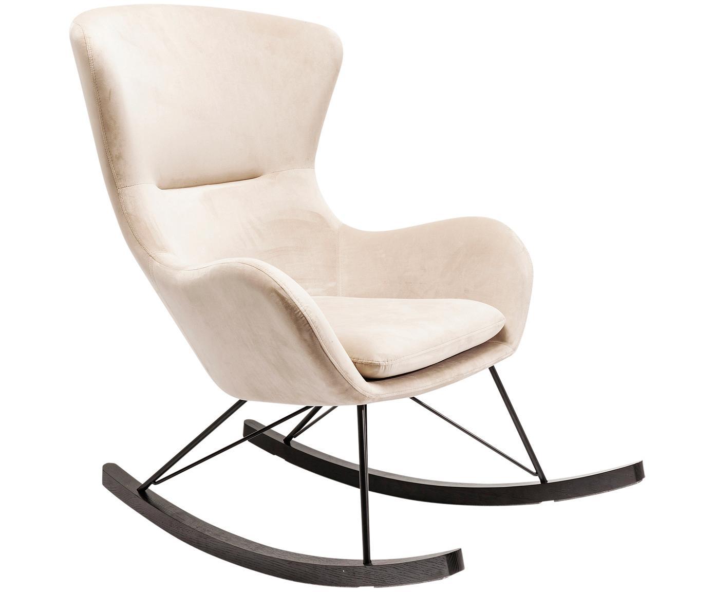 Fluwelen schommelstoel Oslo in crèmekleur, Bekleding: polyester-velours, Poten: gepoedercoat staal, Frame: staal, Crèmekleurig, B 76 x D 103 cm