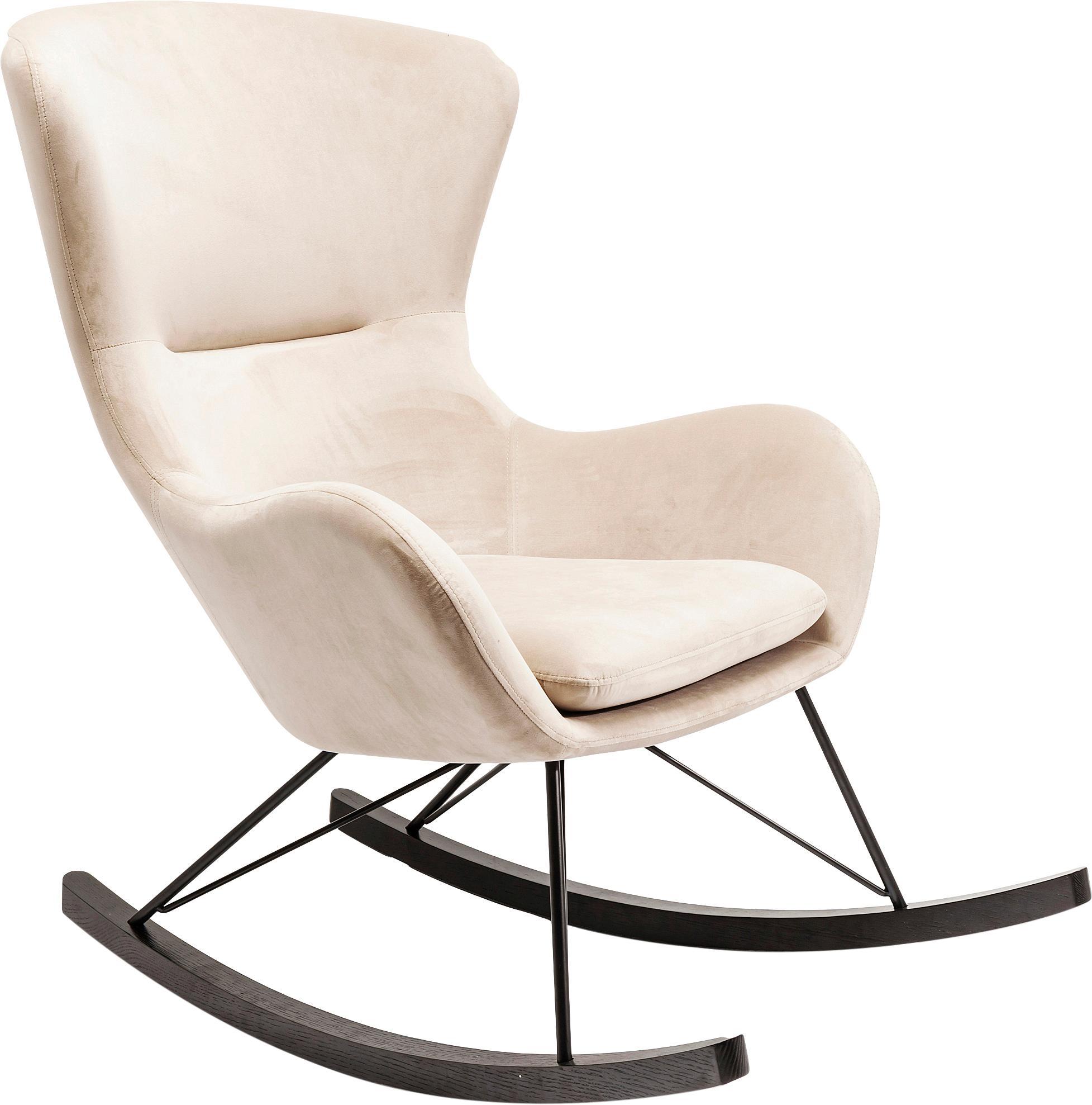 Sedia a dondolo in velluto color crema Oslo, Rivestimento: poliestere, Gambe: acciaio, verniciato a pol, Crema, Larg. 76 x Prof. 103 cm