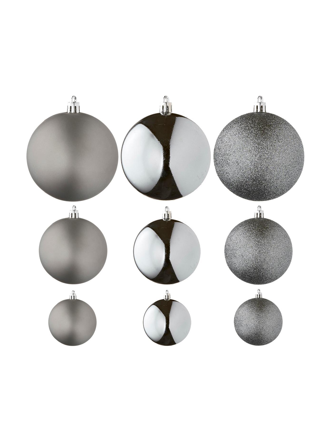 Weihnachtskugel-Set Natalie, 46-tlg., Kunststoff, Silberfarben, Verschiedene Grössen