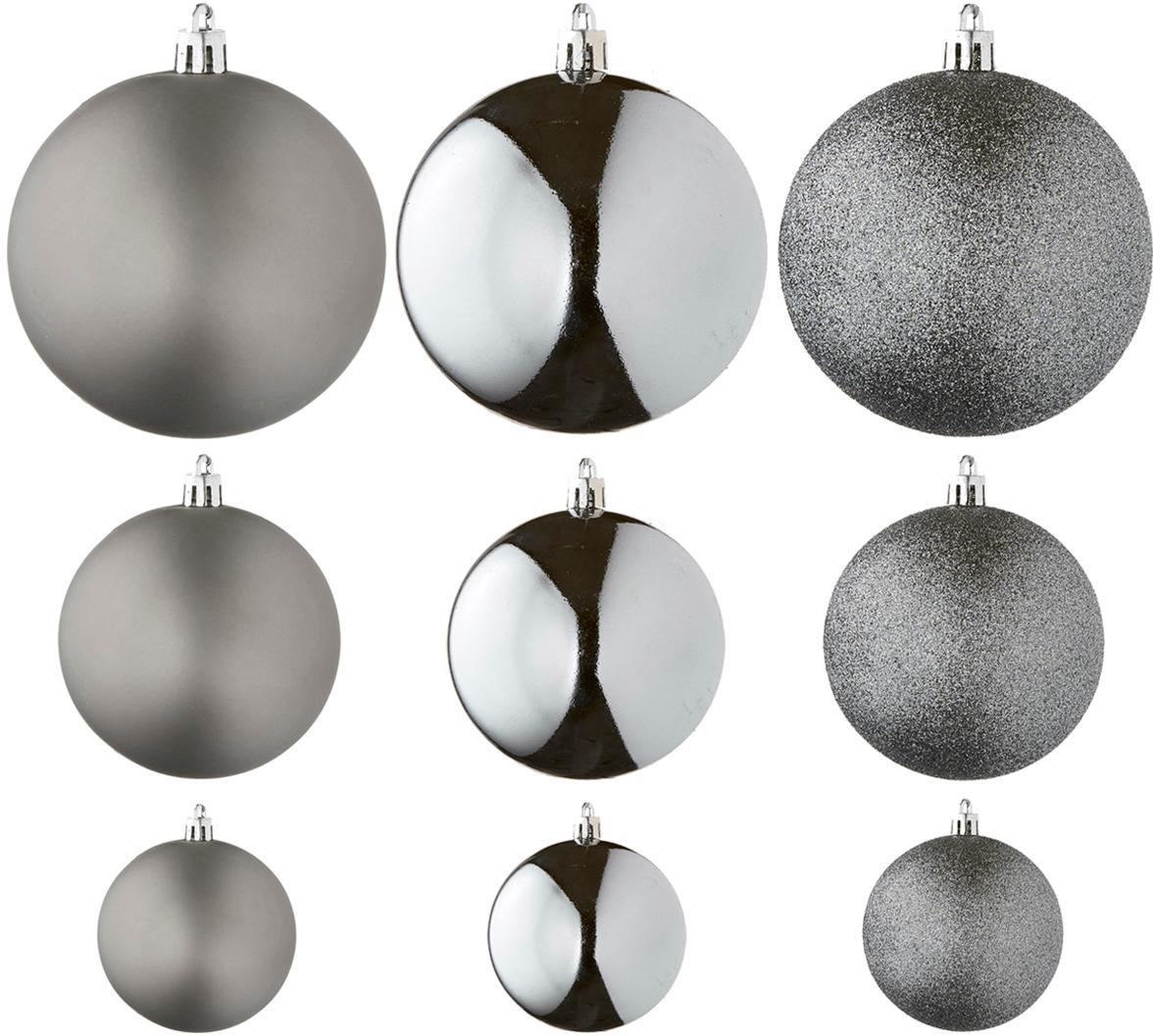 Set de bolas de Navidad Natalie, 46uds., Plástico, Plateado, Set de diferentes tamaños