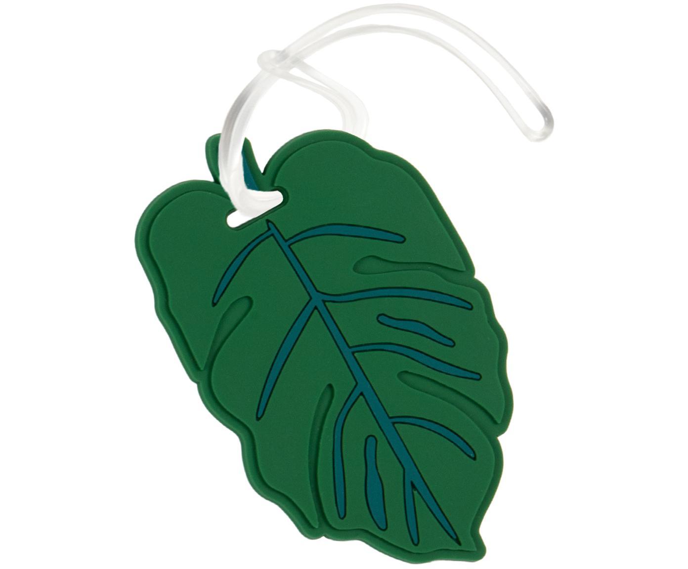 Bagagelabel Leaf, Kunststof, Groen, wit, 10 x 6 cm